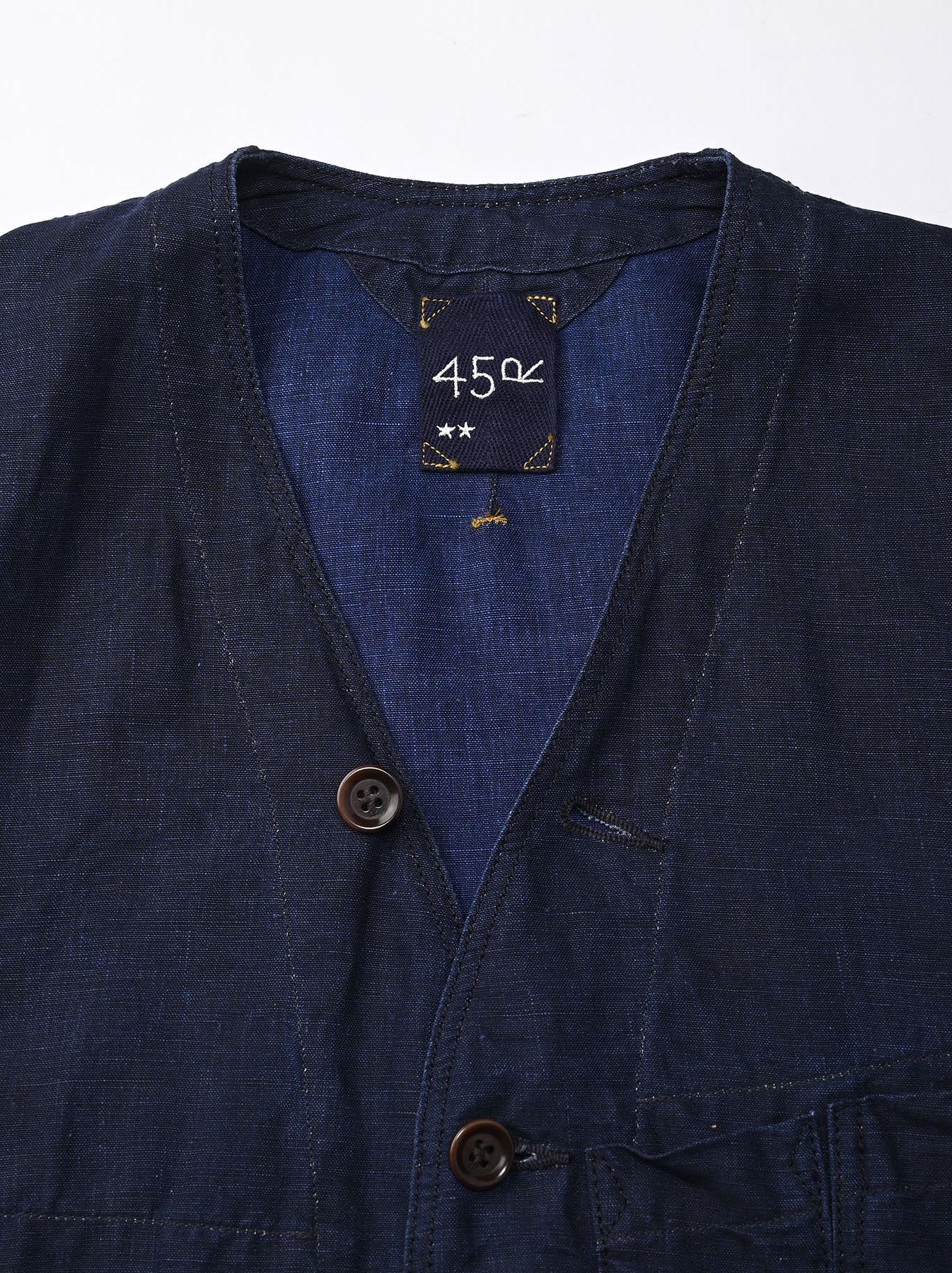 Indigo Linen 908 V-neck Coverall (0421)-9