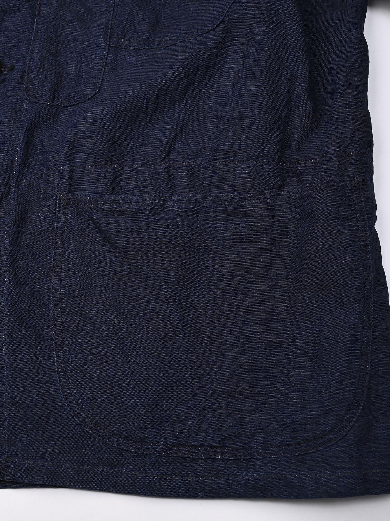 Indigo Linen 908 V-neck Coverall (0421)-10