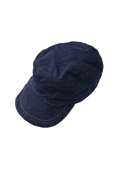 Indigo Linen Duck Work Cap (0421)