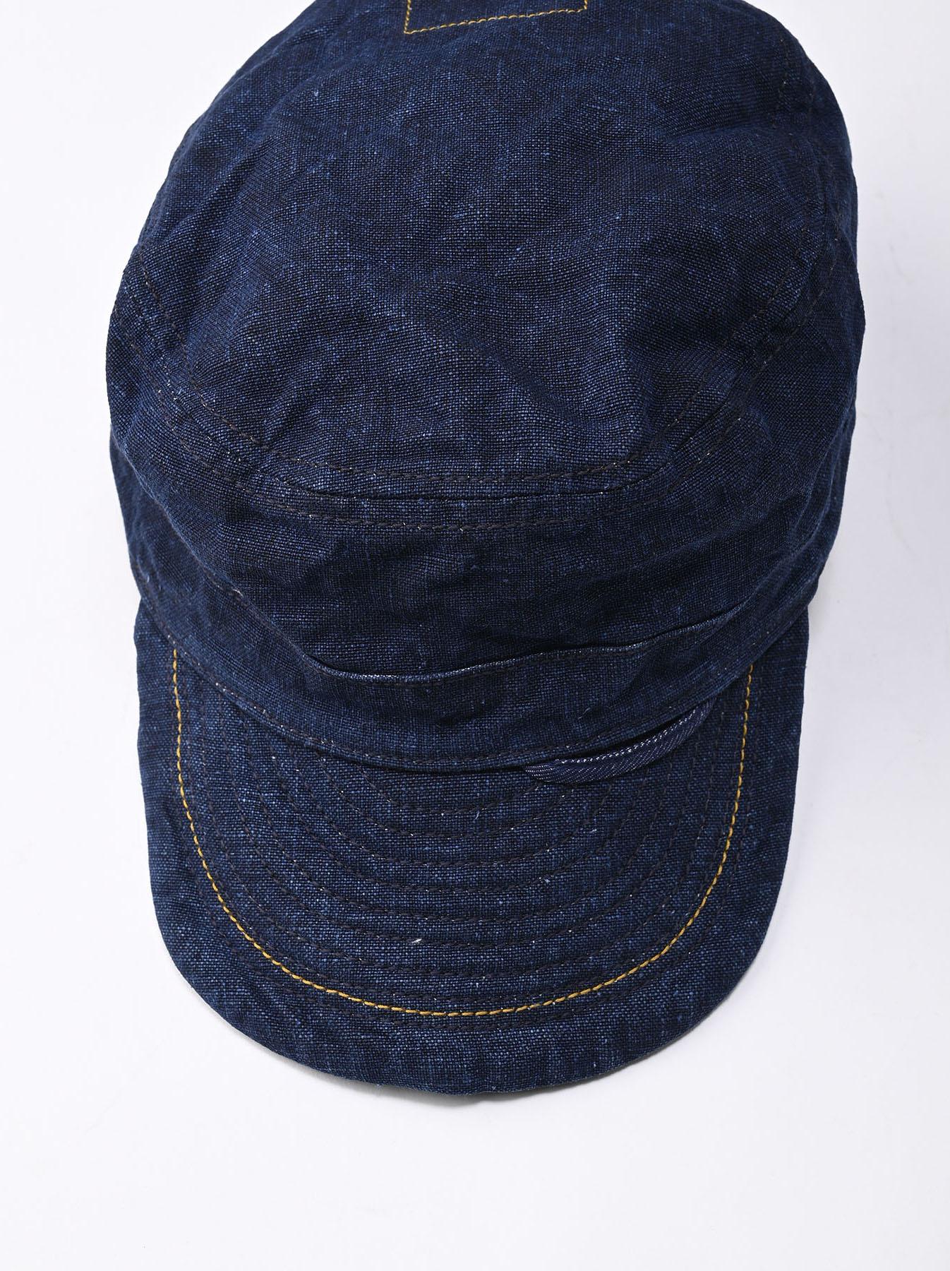 Indigo Linen Duck Work Cap (0421)-5