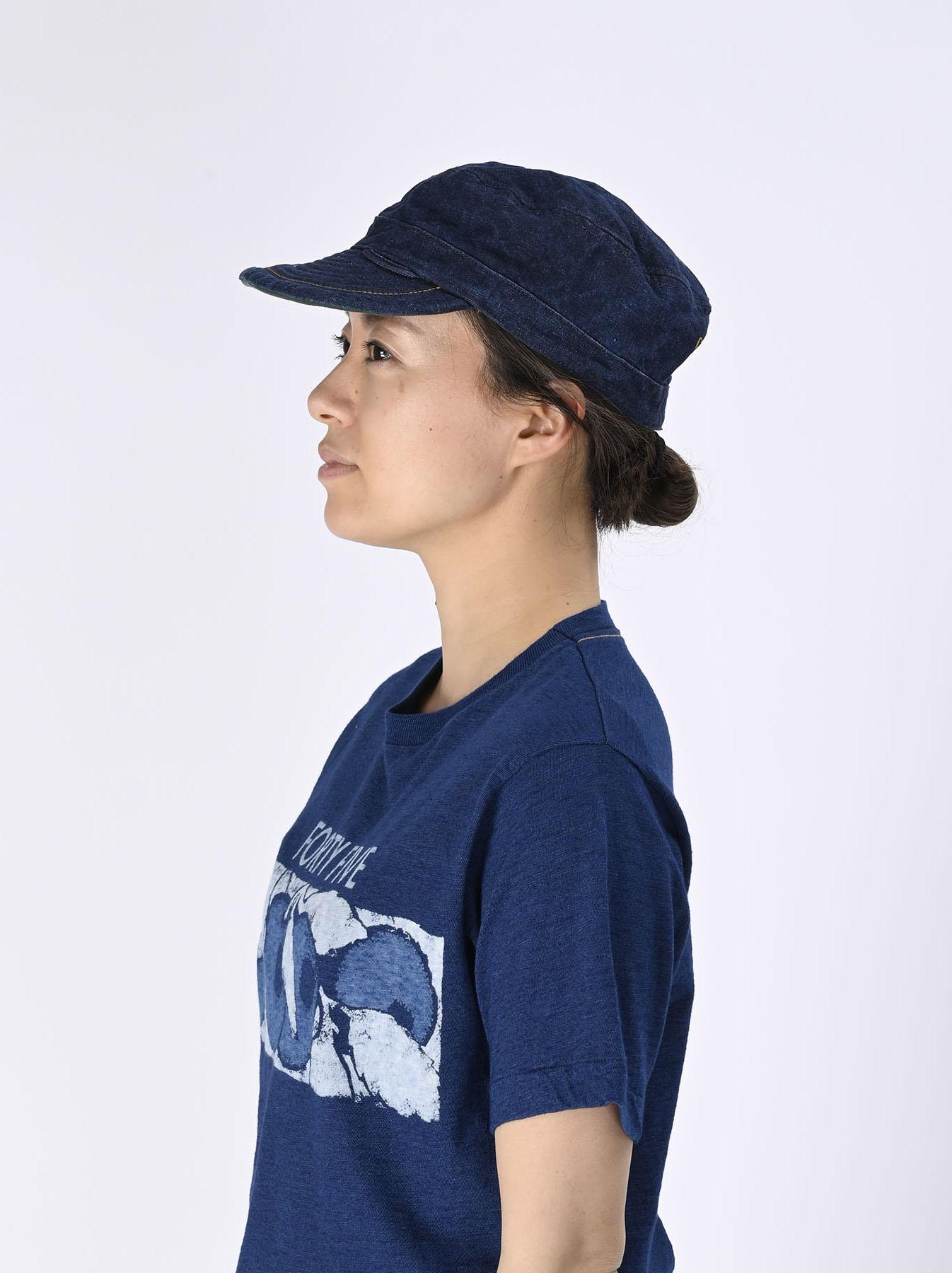 Indigo Linen Duck Work Cap (0421)-2