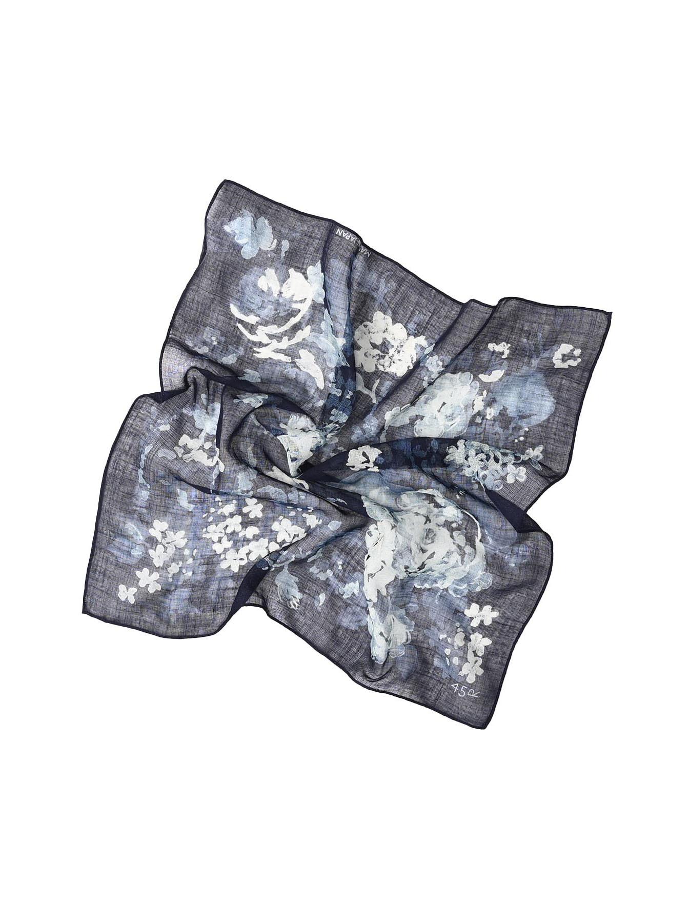 Indigo Gauze Flower Print Bandana (0421)-2