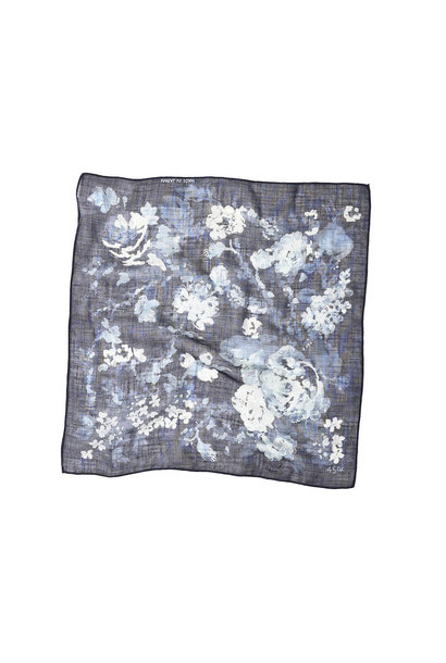 Indigo Gauze Flower Print Bandana (0421)