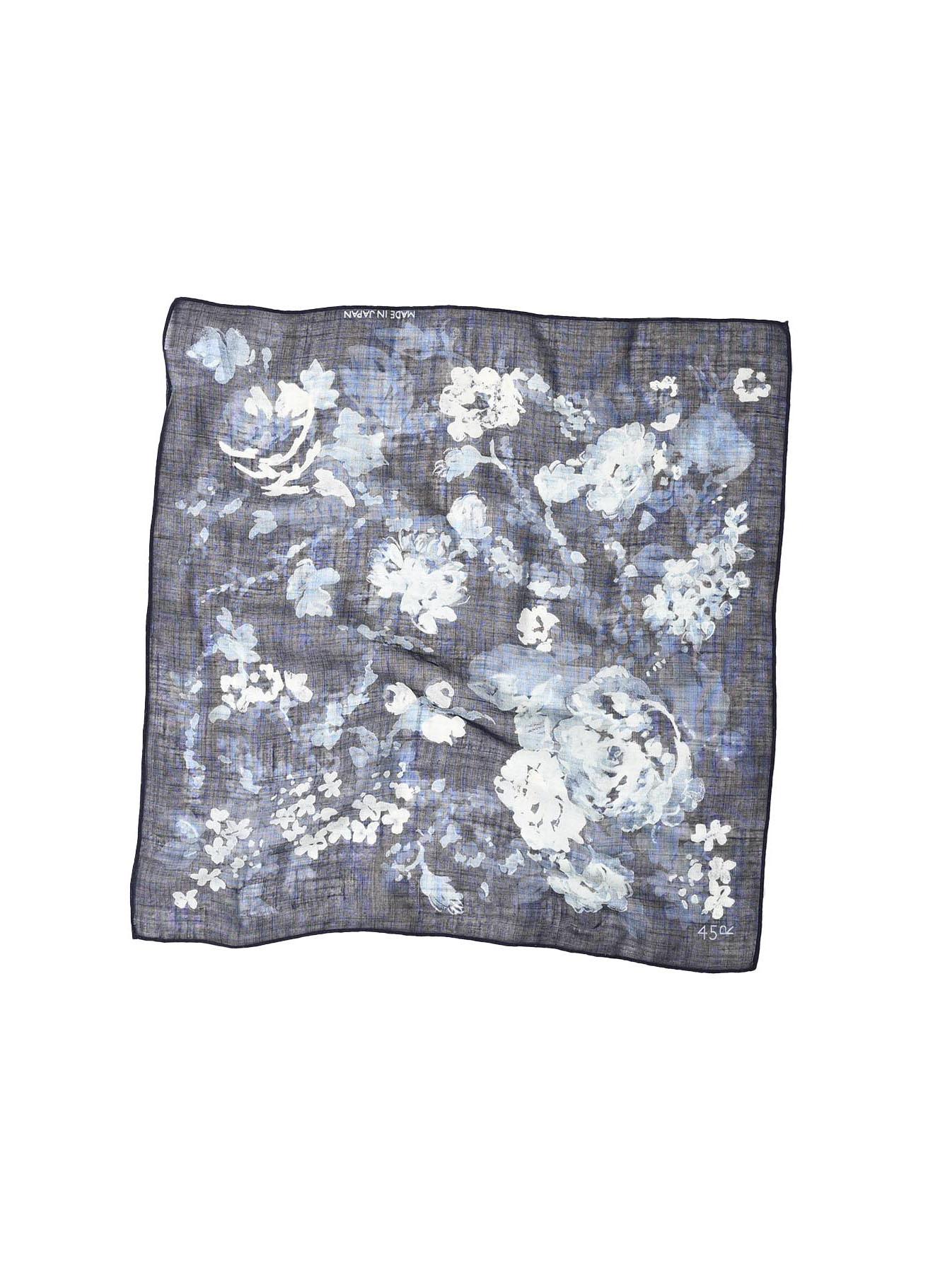 Indigo Gauze Flower Print Bandana (0421)-1