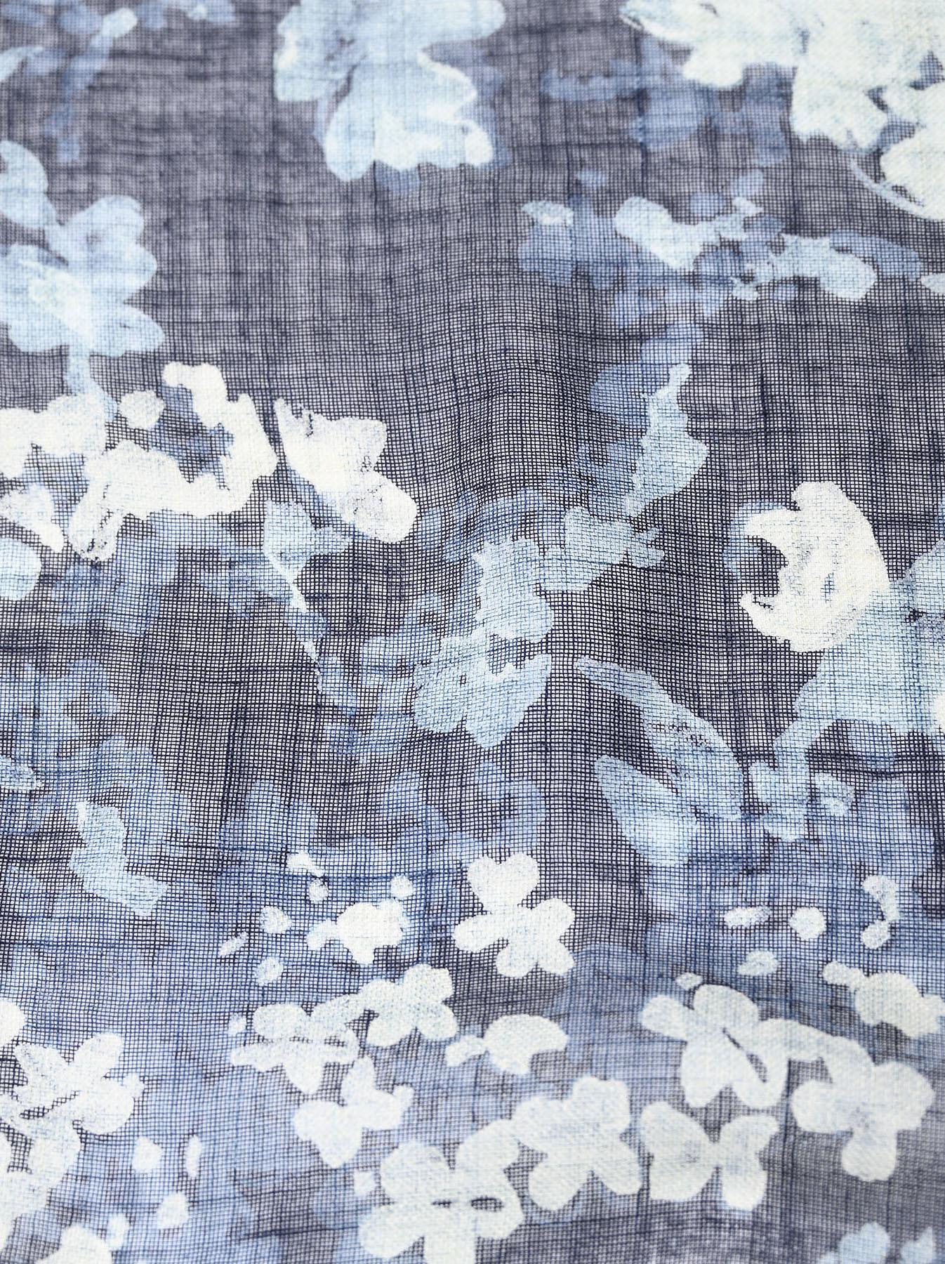 Indigo Gauze Flower Print Bandana (0421)-4