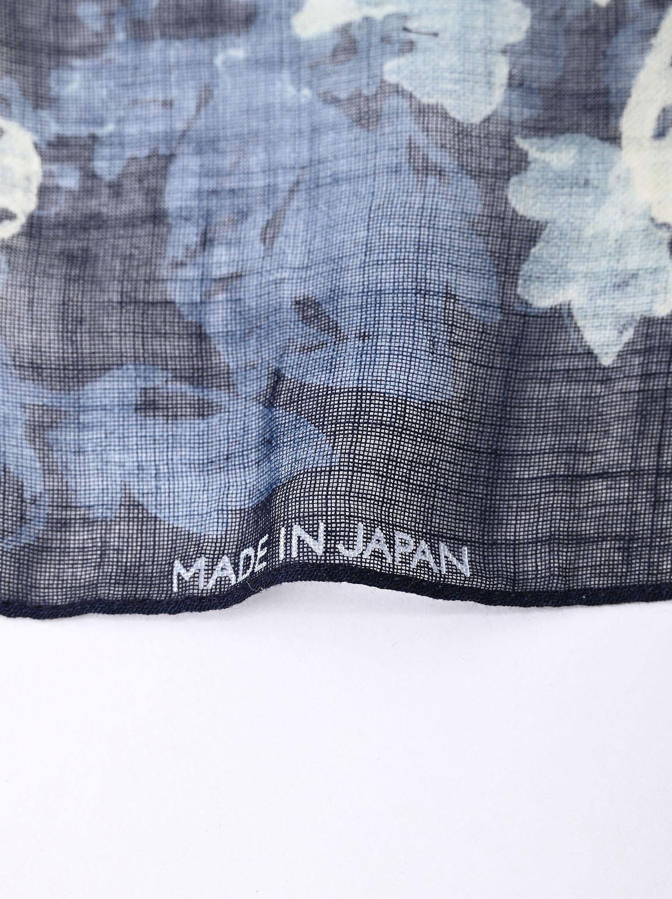 Indigo Gauze Flower Print Bandana (0421)-5