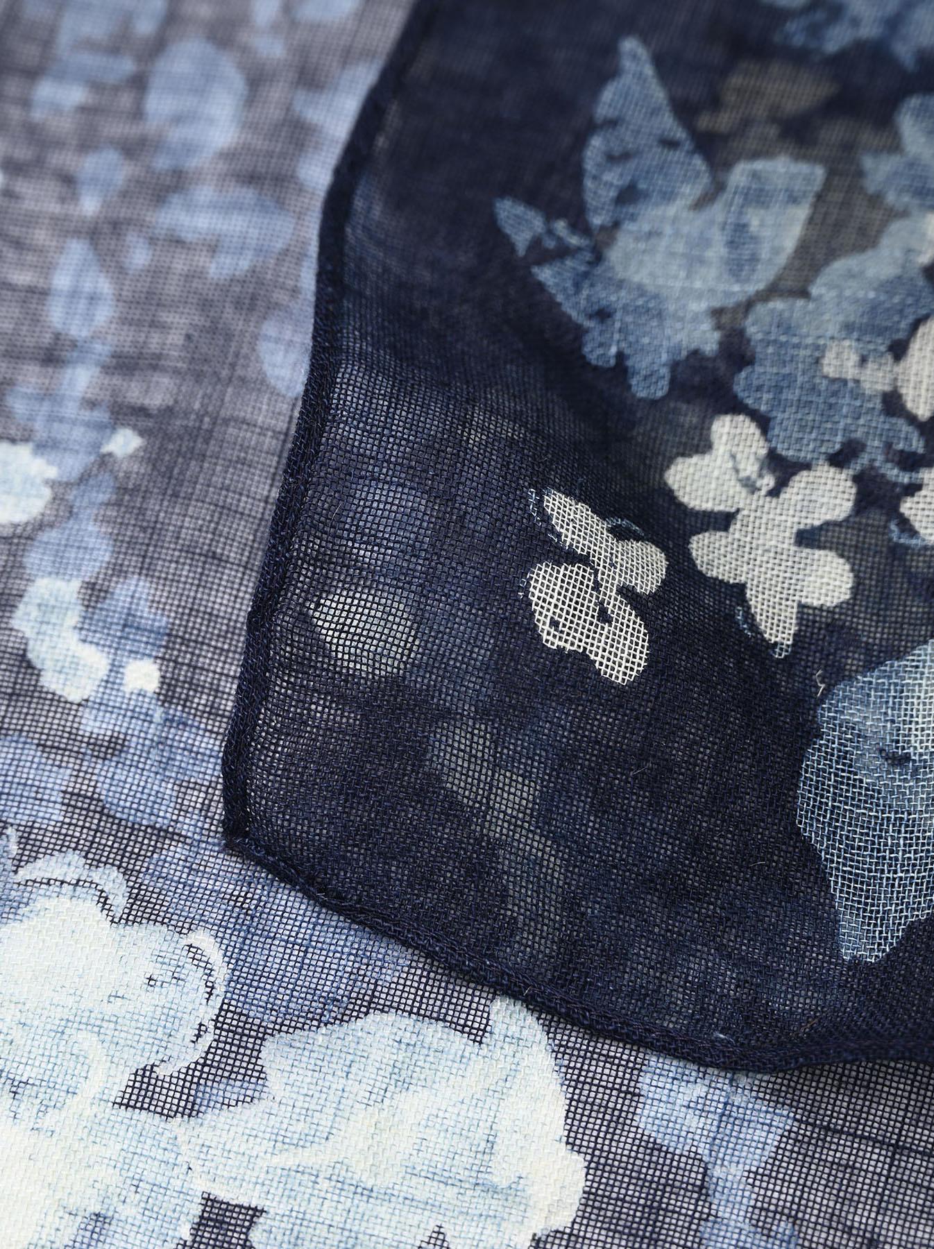 Indigo Gauze Flower Print Bandana (0421)-6