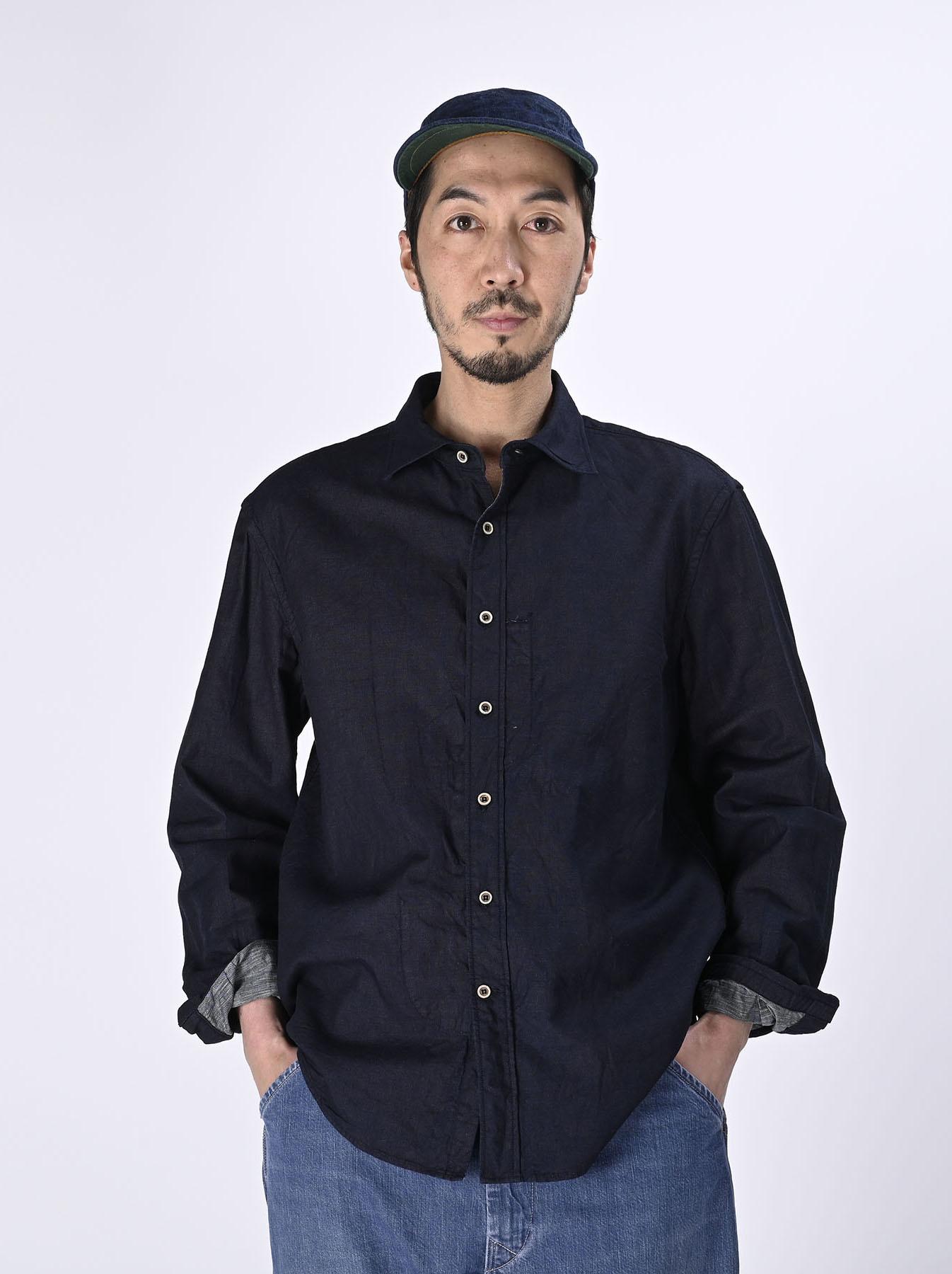Indigo Double Woven 908 Loafer Shirt (0421)-3