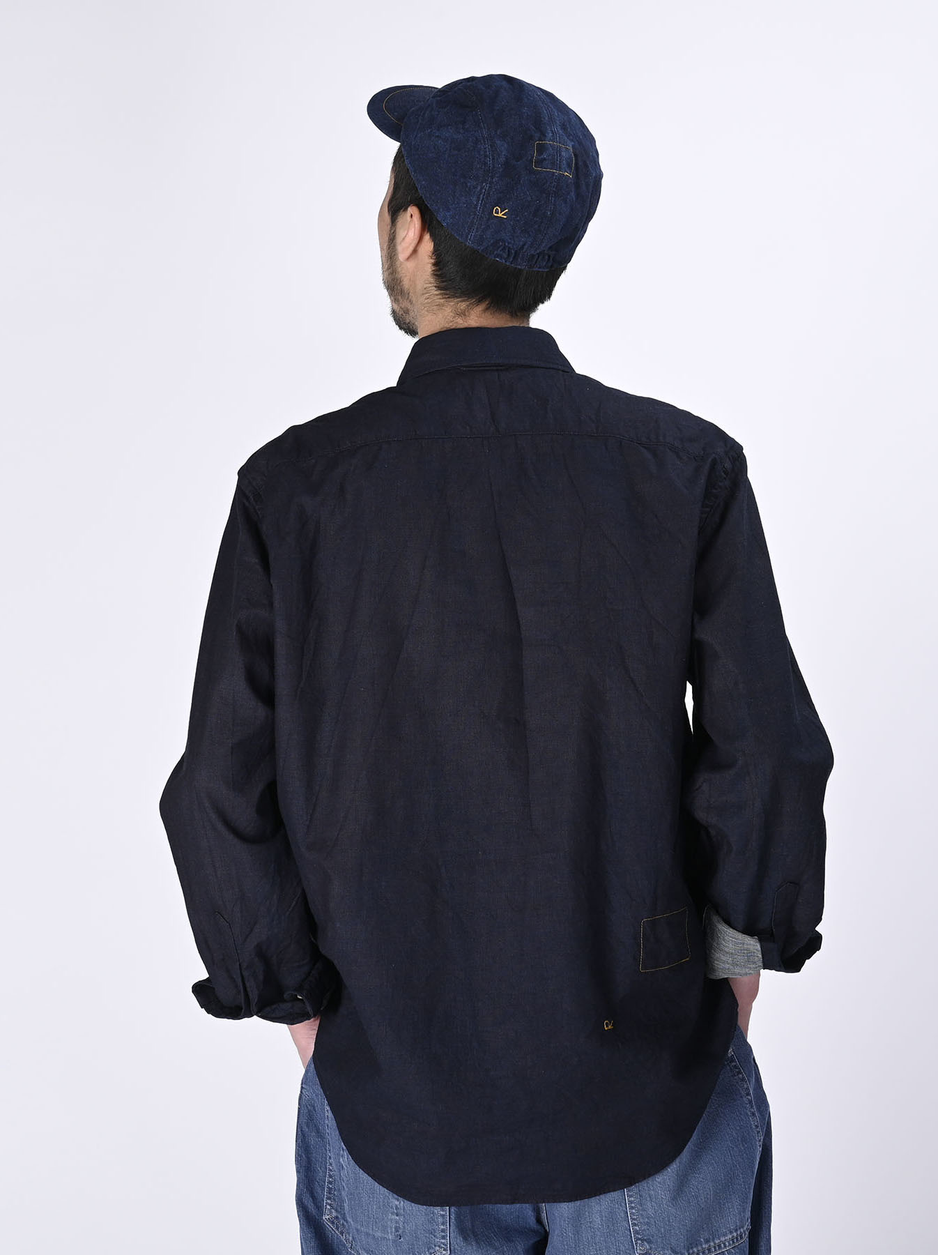 Indigo Double Woven 908 Loafer Shirt (0421)-5