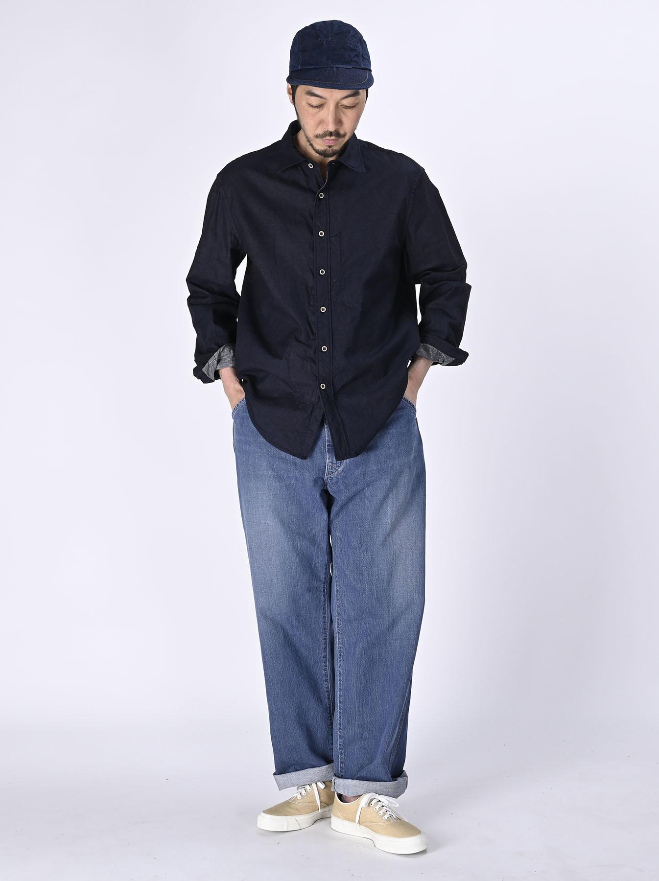 Indigo Double Woven 908 Loafer Shirt (0421)-2