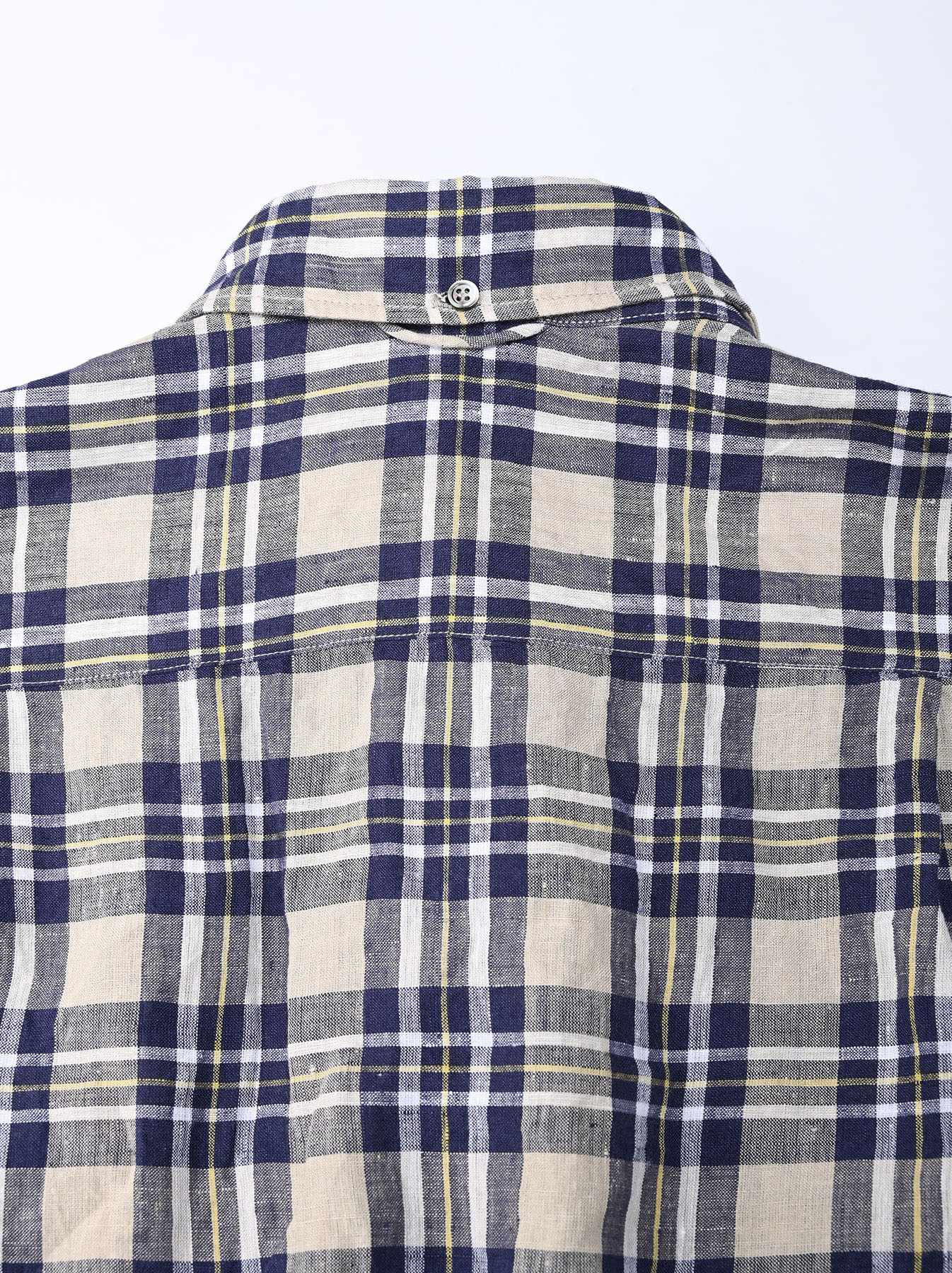 Indian Linen Madras 908 Ocean Button Down Shirt (0421)-10