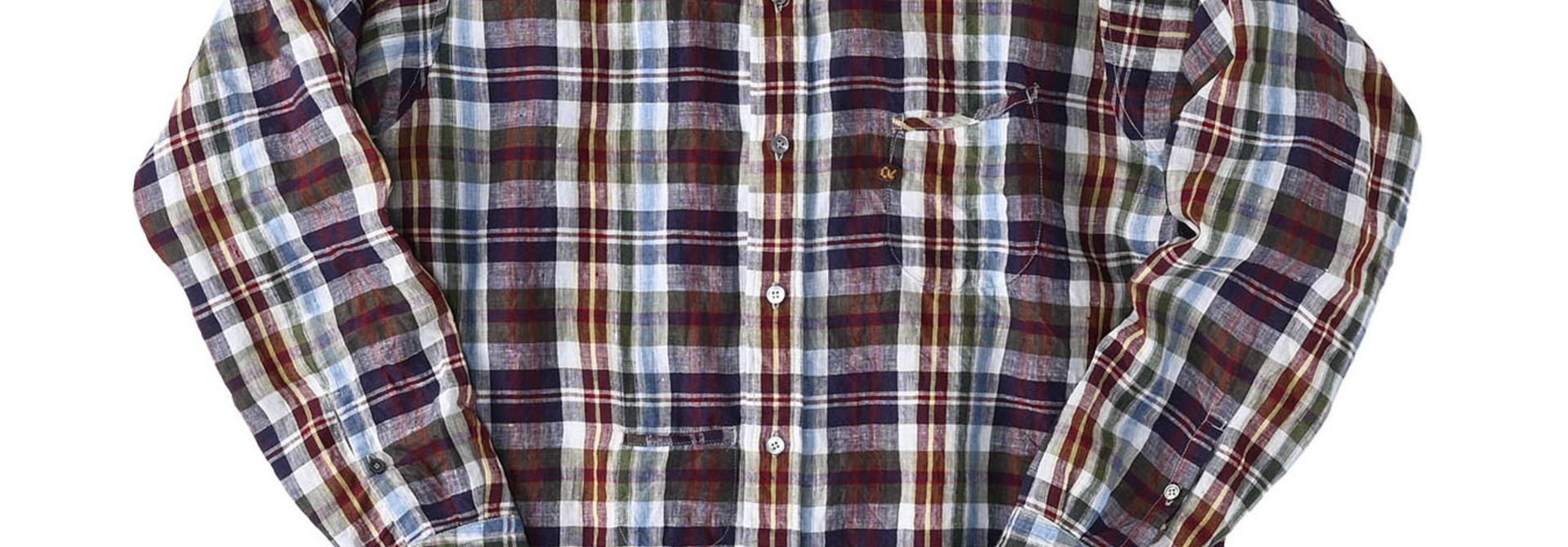 Indian Linen Madras 908 Ocean Button Down Shirt (0421)