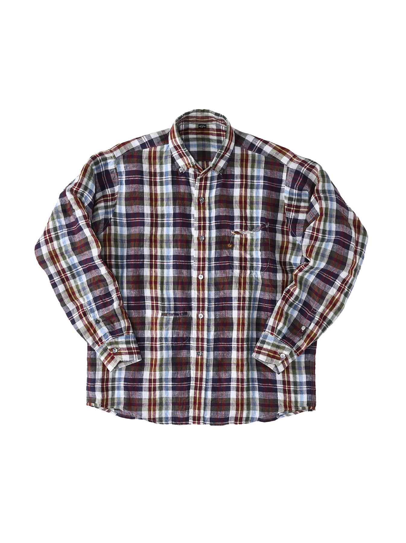 Indian Linen Madras 908 Ocean Button Down Shirt (0421)-1
