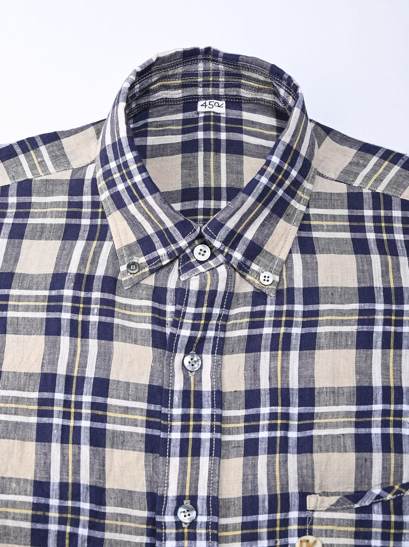 Indian Linen Madras 908 Ocean Button Down Shirt (0421)-8