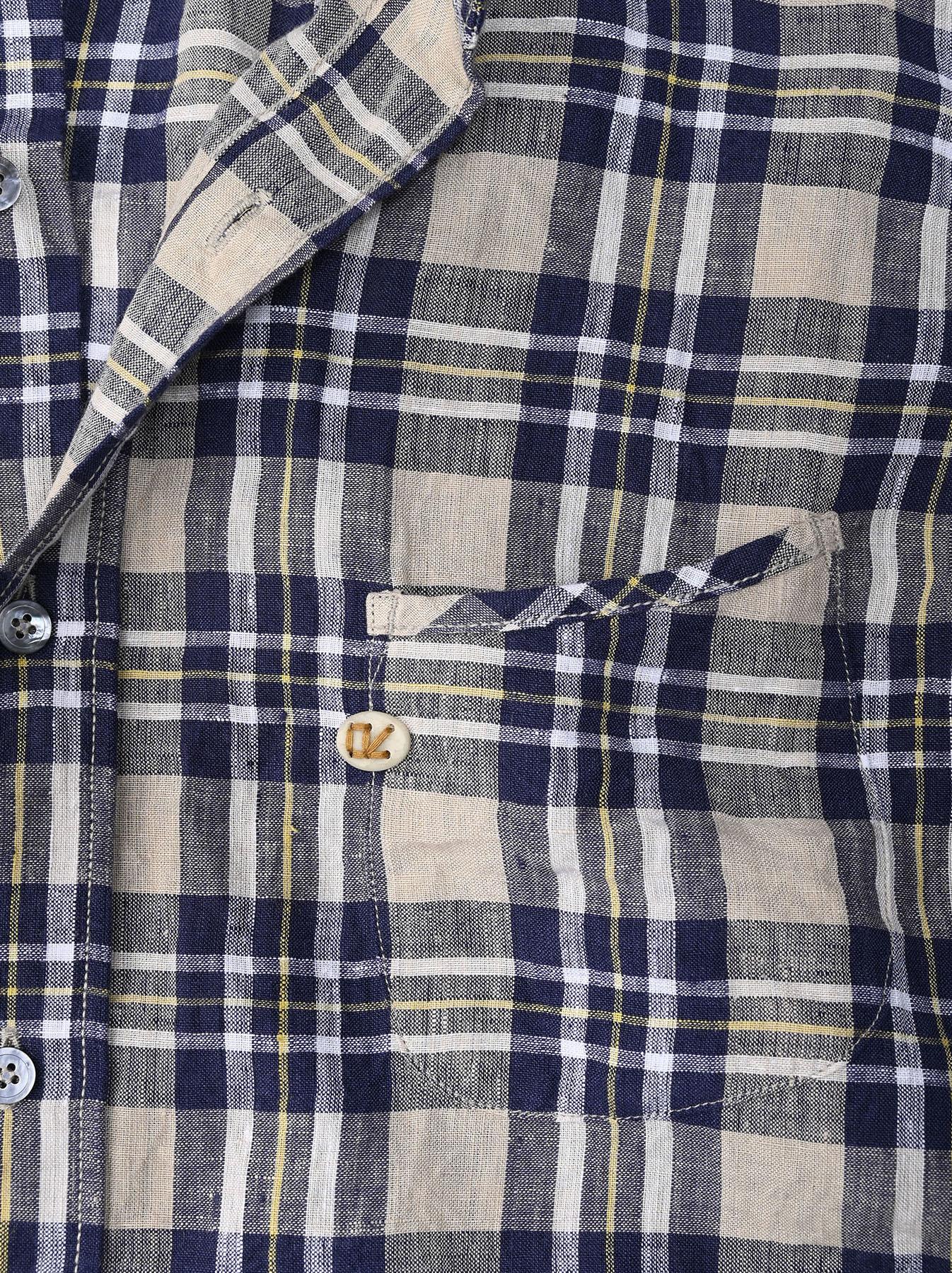 Indian Linen Madras 908 Ocean Button Down Shirt (0421)-9