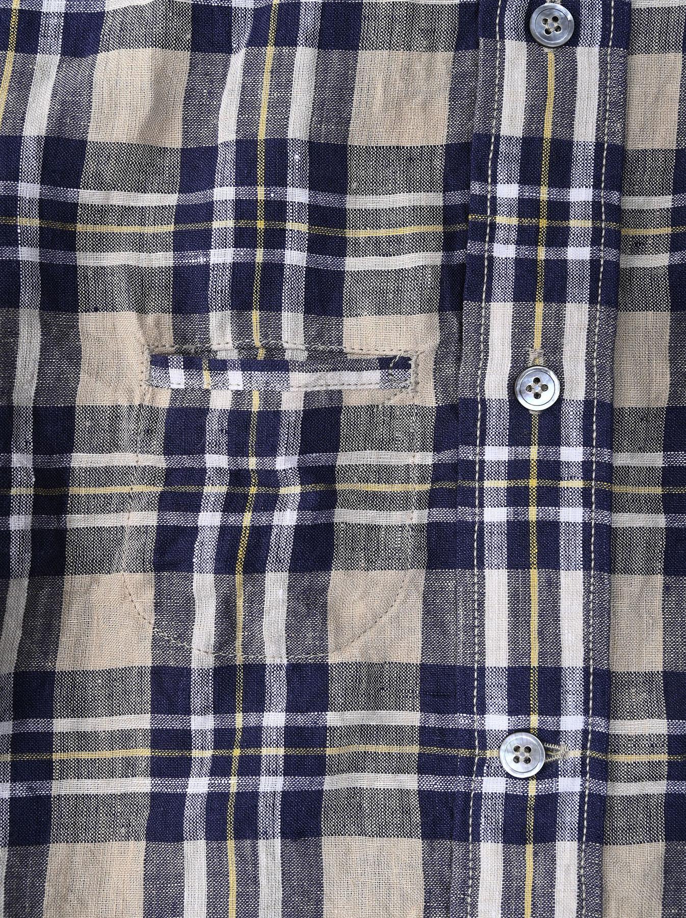 Indian Linen Madras 908 Ocean Button Down Shirt (0421)-11