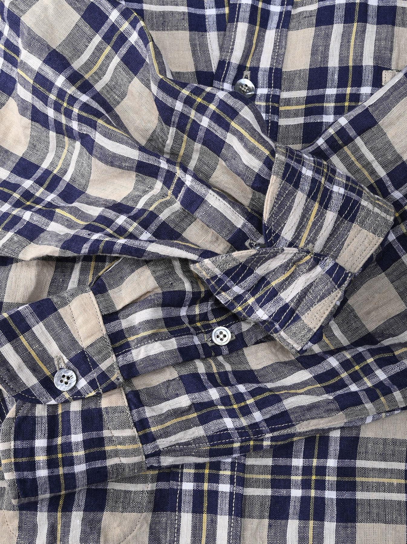 Indian Linen Madras 908 Ocean Button Down Shirt (0421)-12