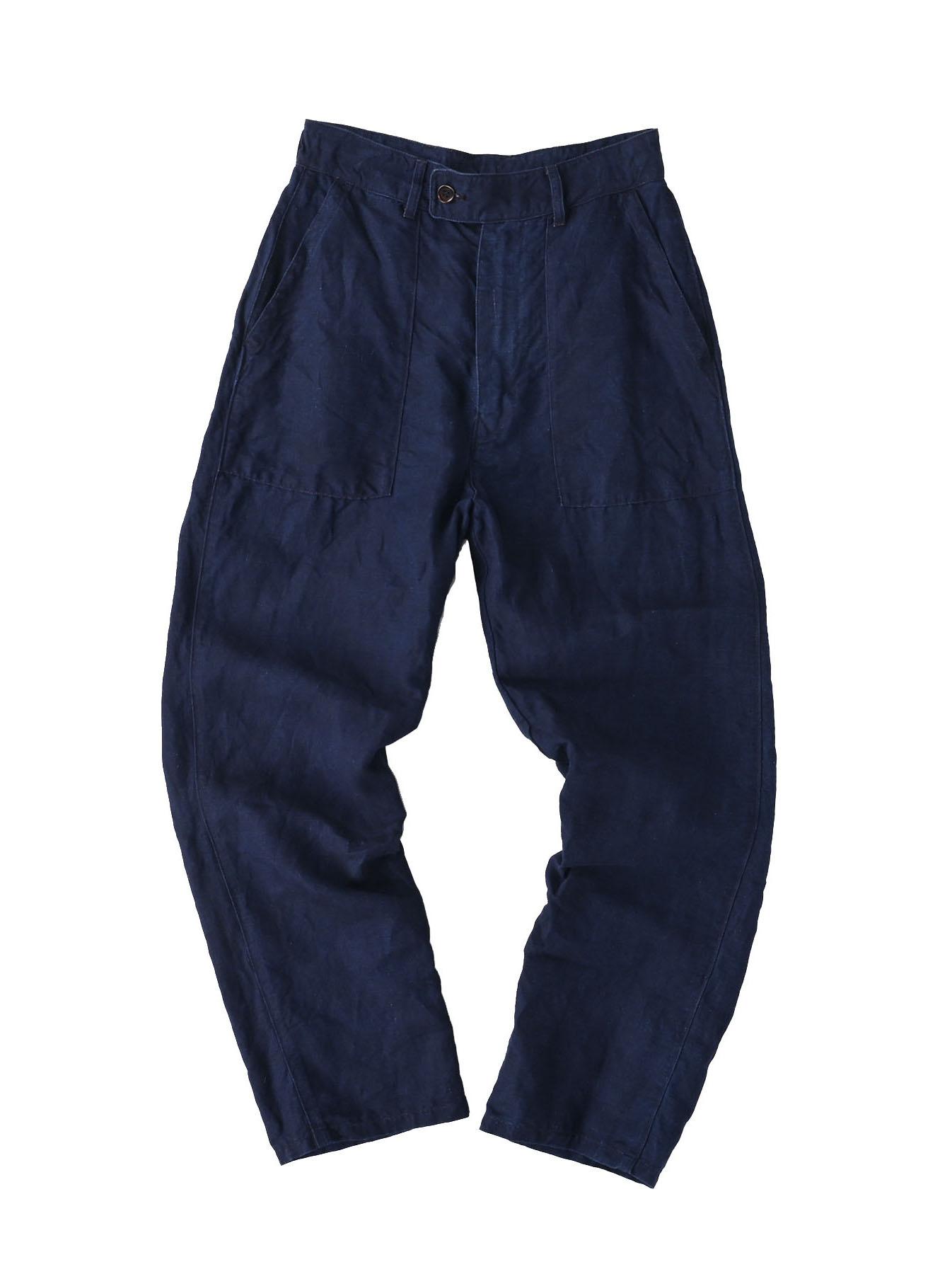 Indigo Linen 908 Baker Pants (0421)-1