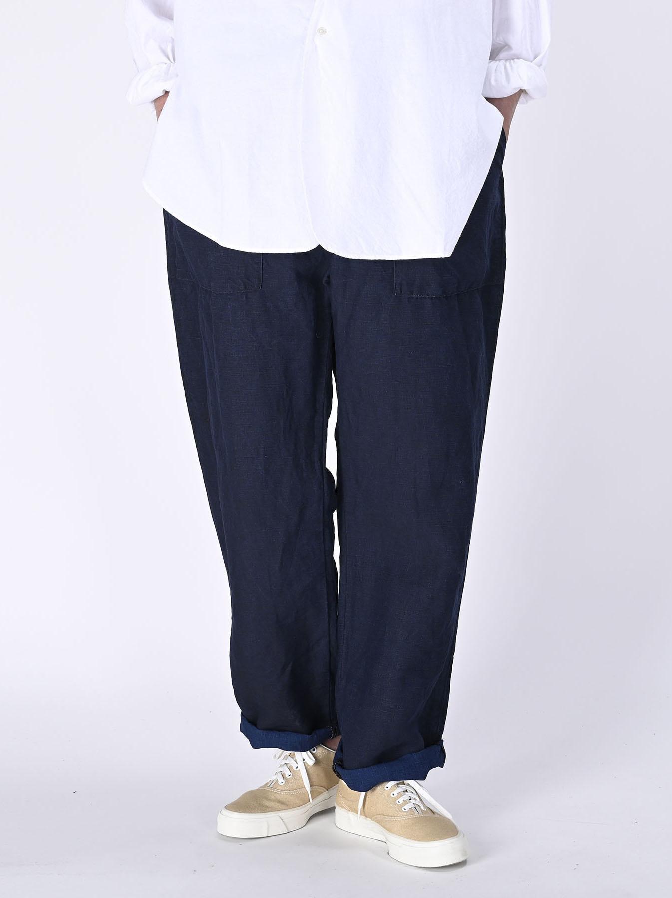 Indigo Linen 908 Baker Pants (0421)-3