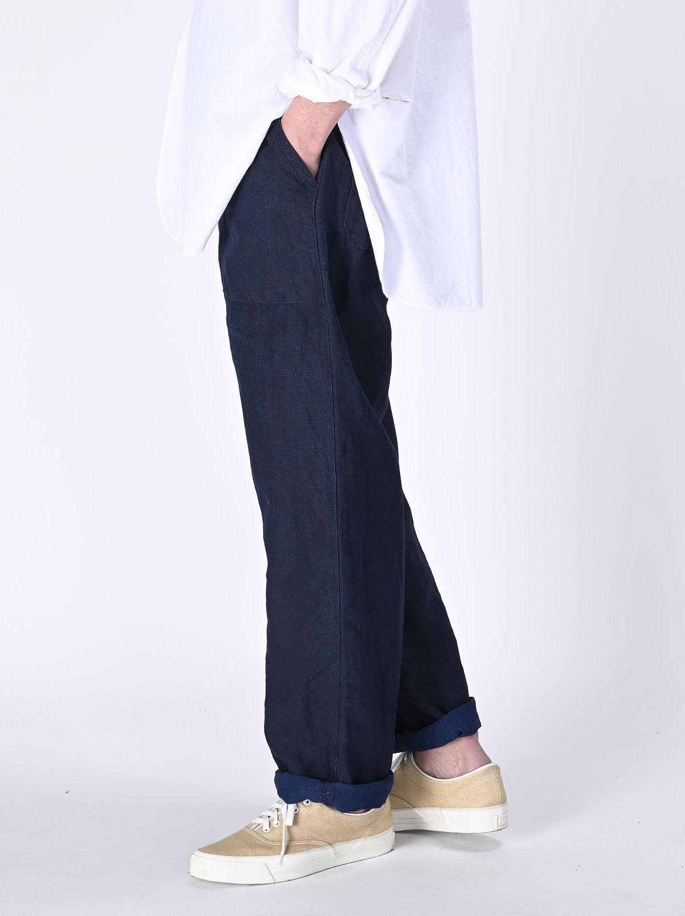Indigo Linen 908 Baker Pants (0421)-4