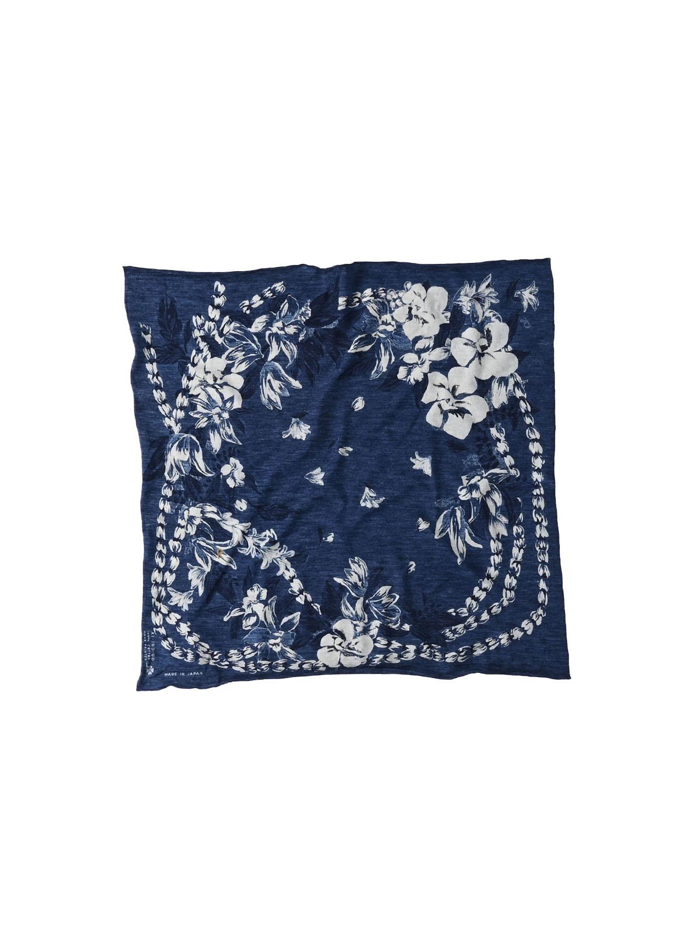 Indigo Aloha Flower Wreath Bandana (0521)-1