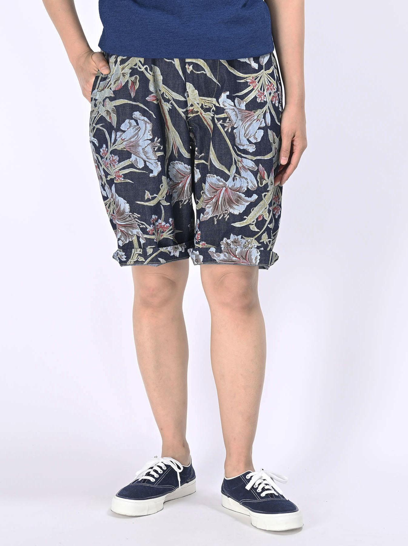 Cotton Lily Print Easy Popo Shorts (0521)-8