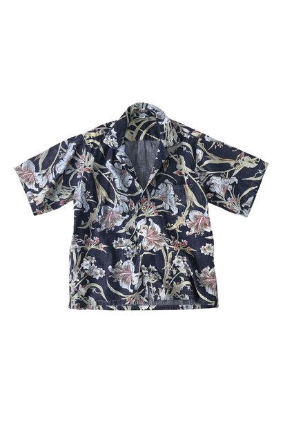 Cotton Lily Print Ocean Shirt (0521)