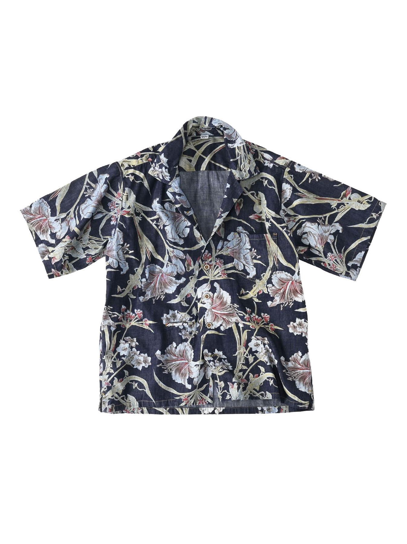 Cotton Lily Print Ocean Shirt (0521)-1