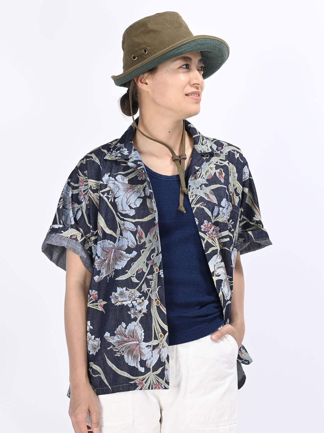 Cotton Lily Print Ocean Shirt (0521)-7