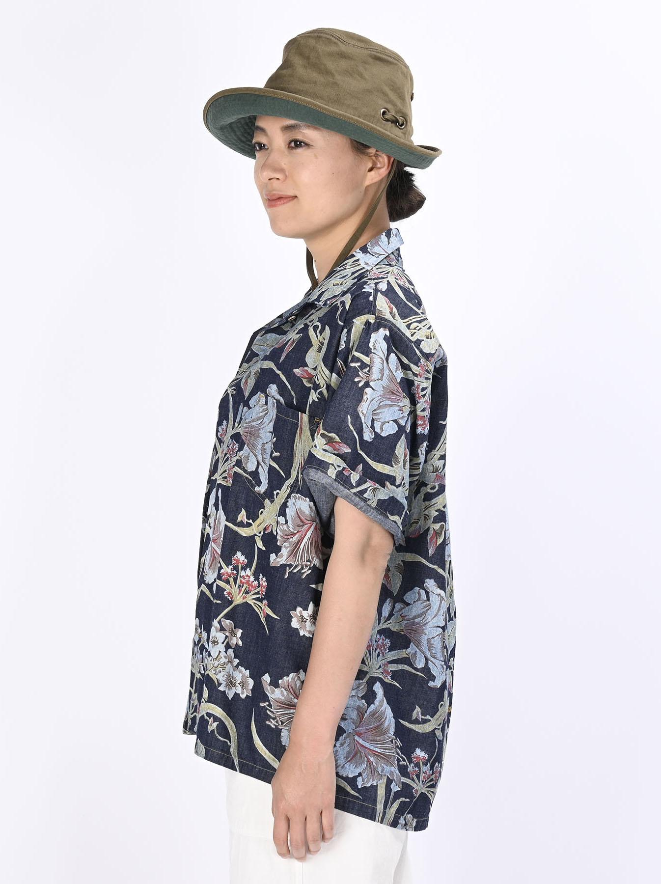 Cotton Lily Print Ocean Shirt (0521)-8