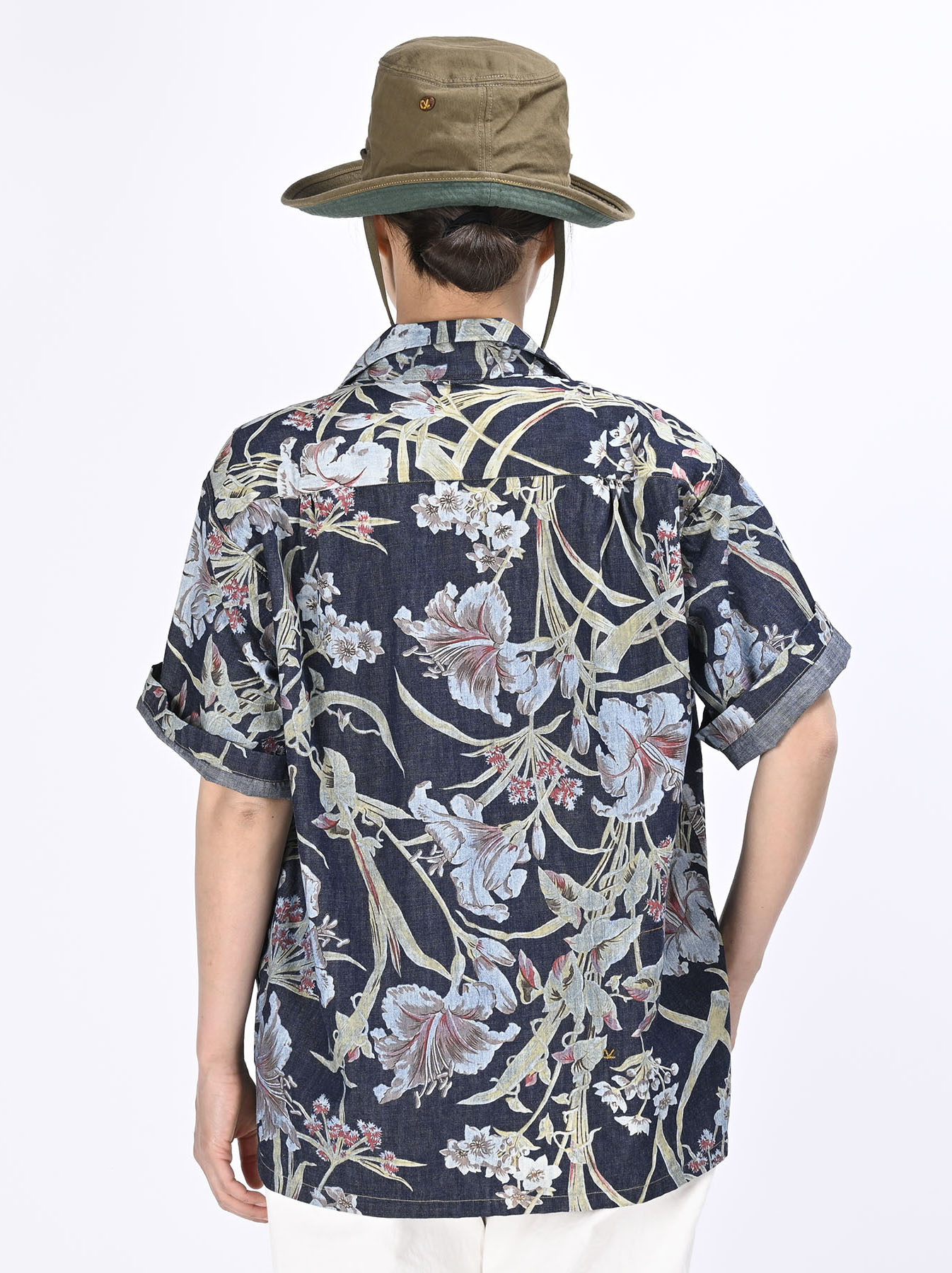 Cotton Lily Print Ocean Shirt (0521)-9