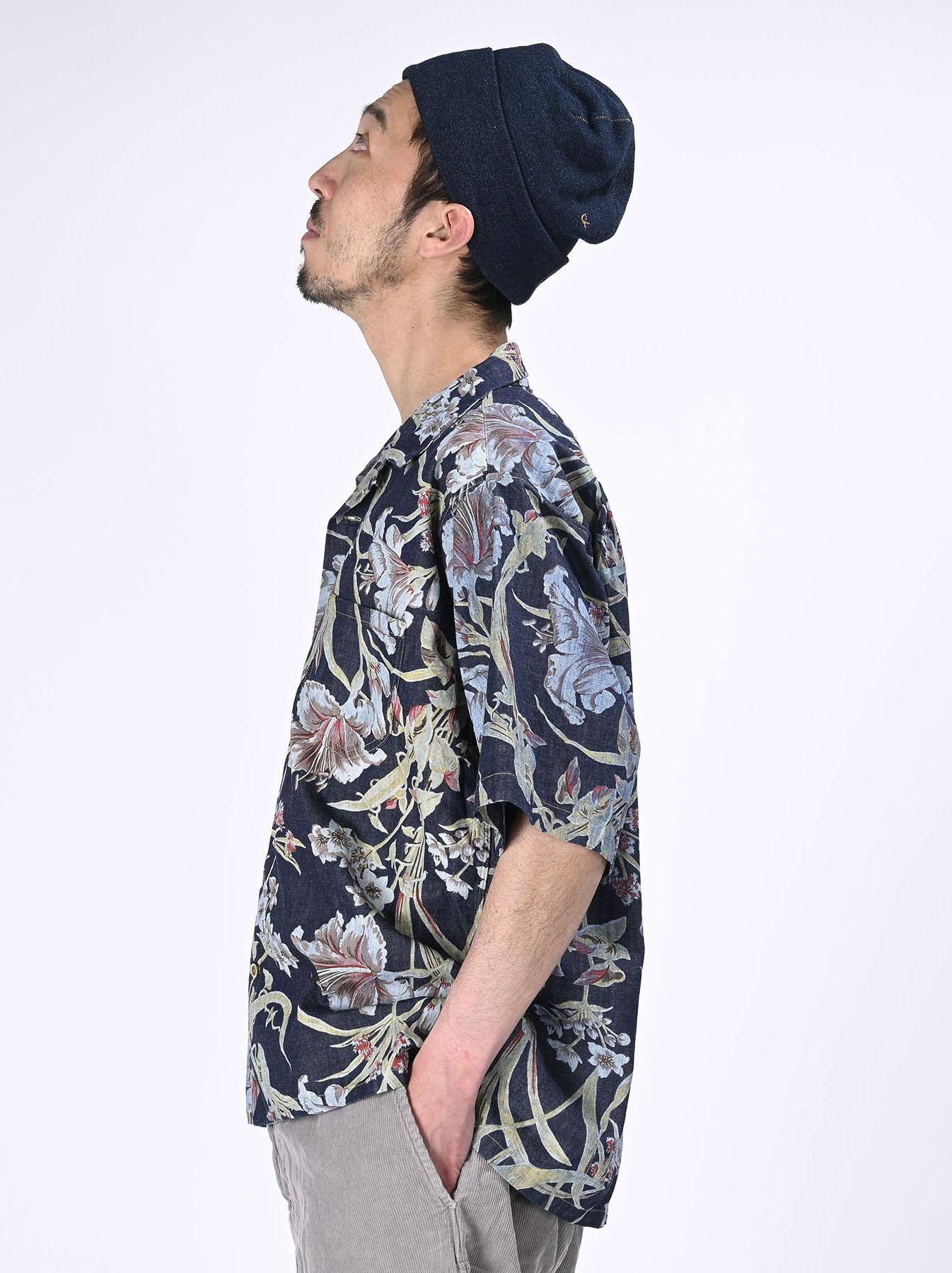 Cotton Lily Print Ocean Shirt (0521)-5