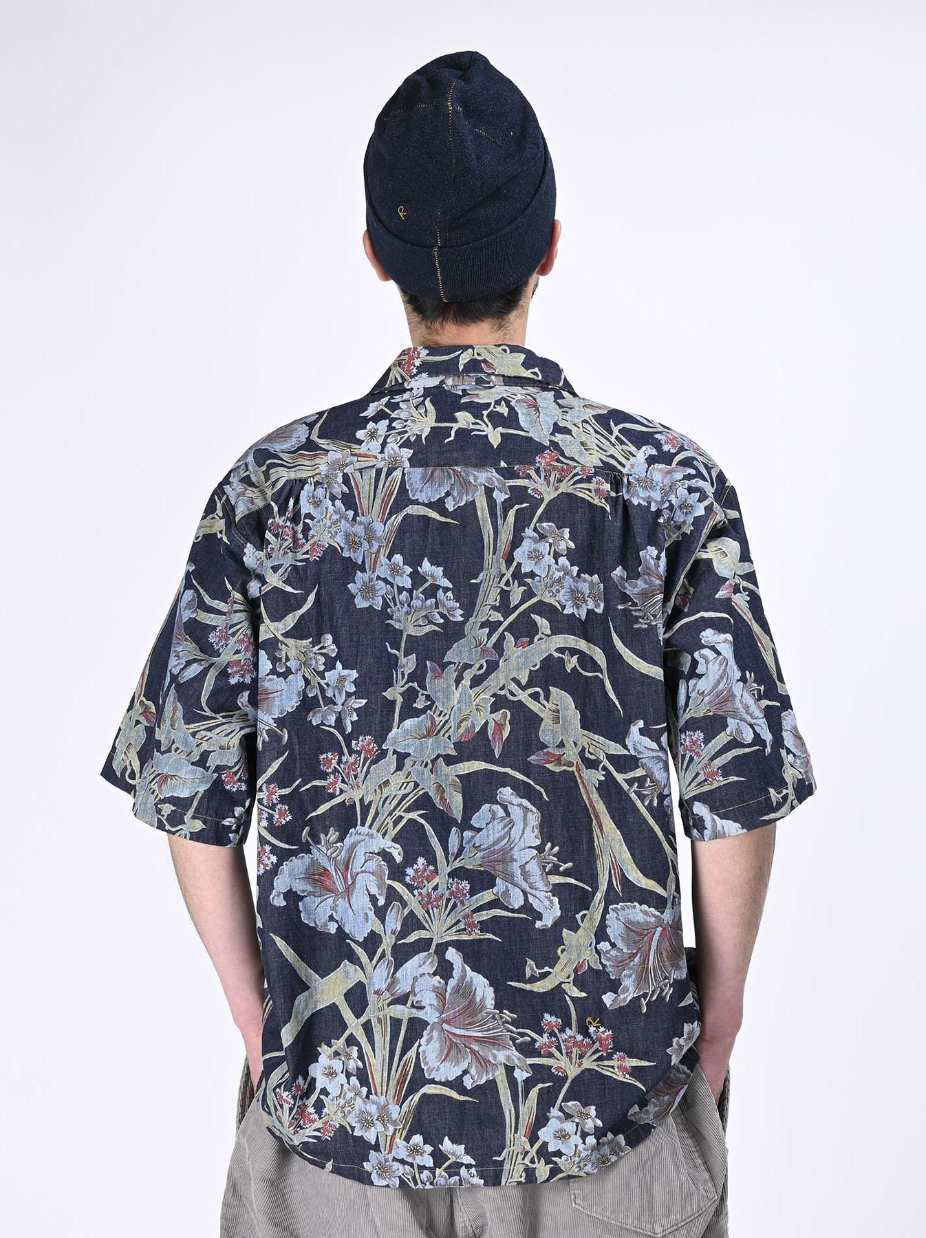 Cotton Lily Print Ocean Shirt (0521)-6