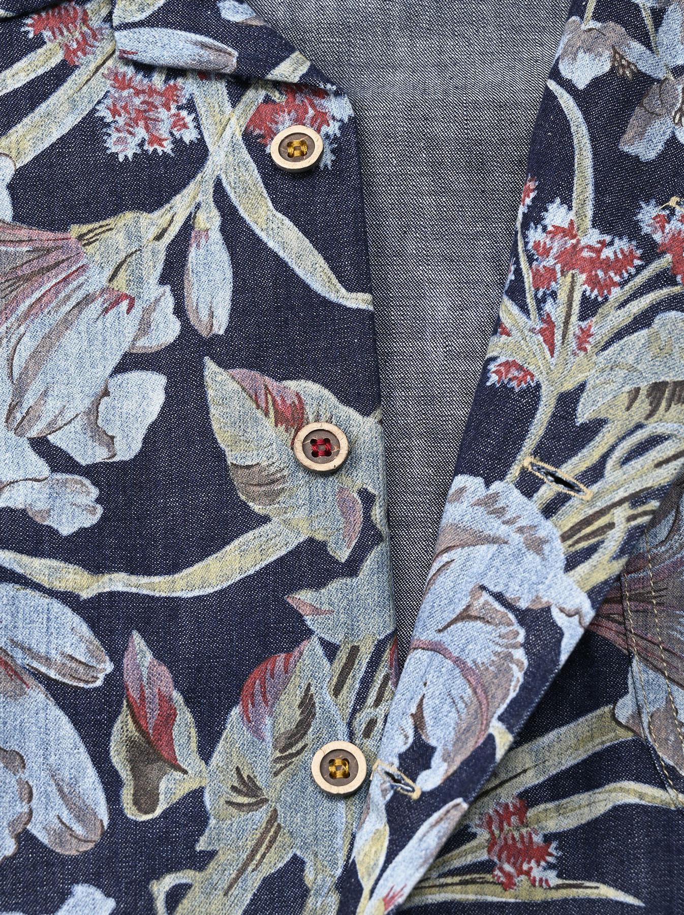 Cotton Lily Print Ocean Shirt (0521)-12