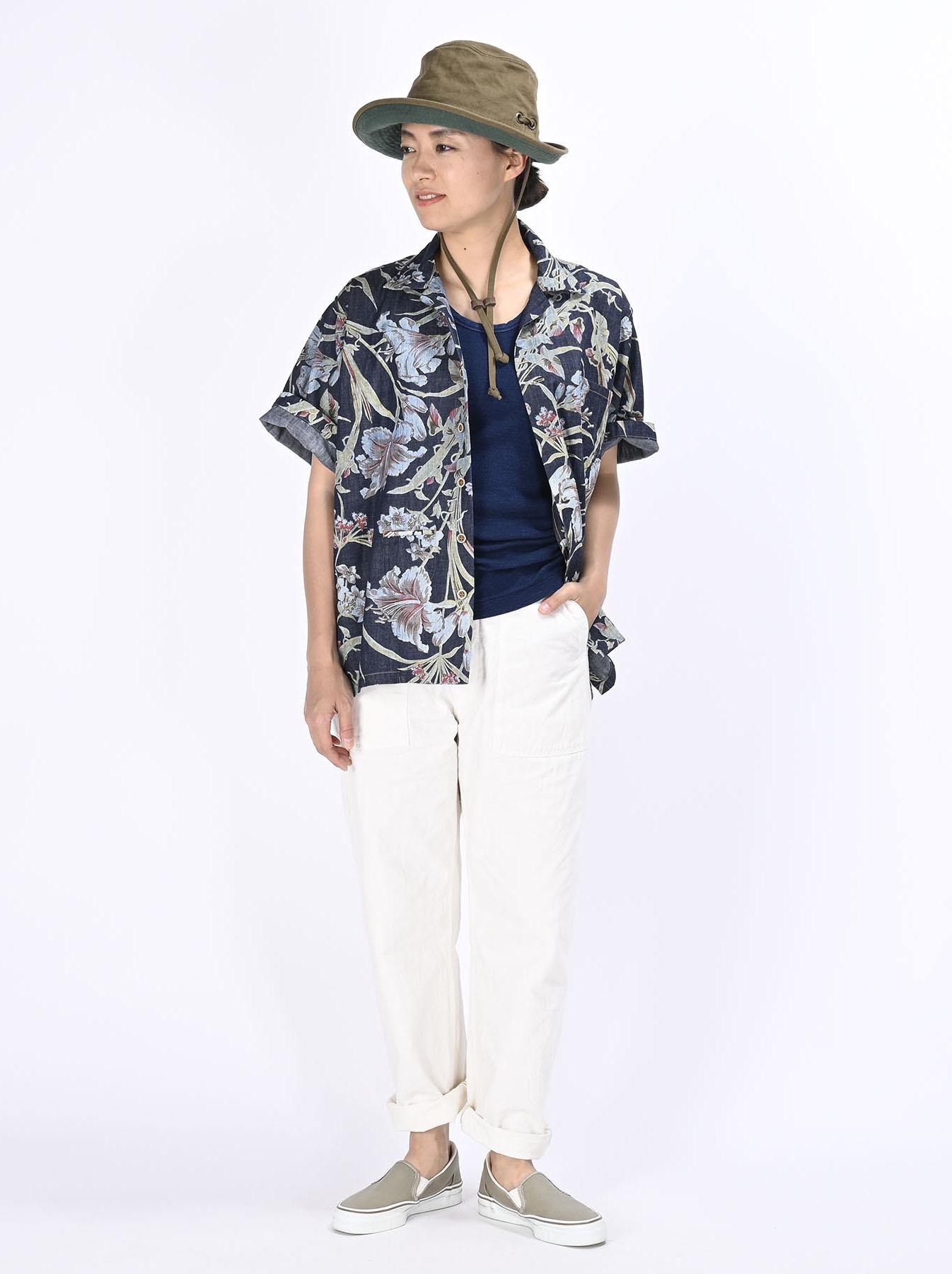 Cotton Lily Print Ocean Shirt (0521)-3