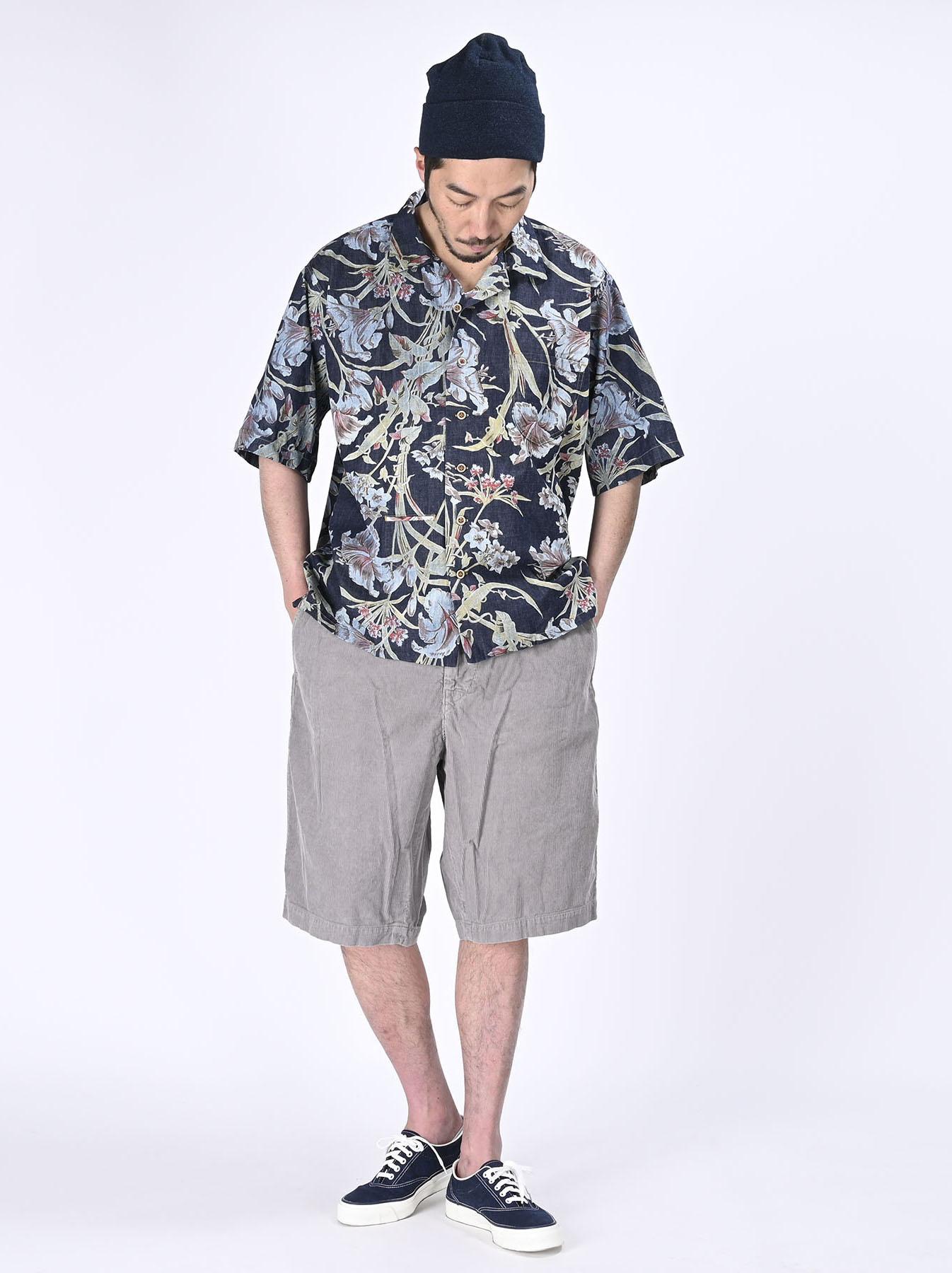 Cotton Lily Print Ocean Shirt (0521)-2