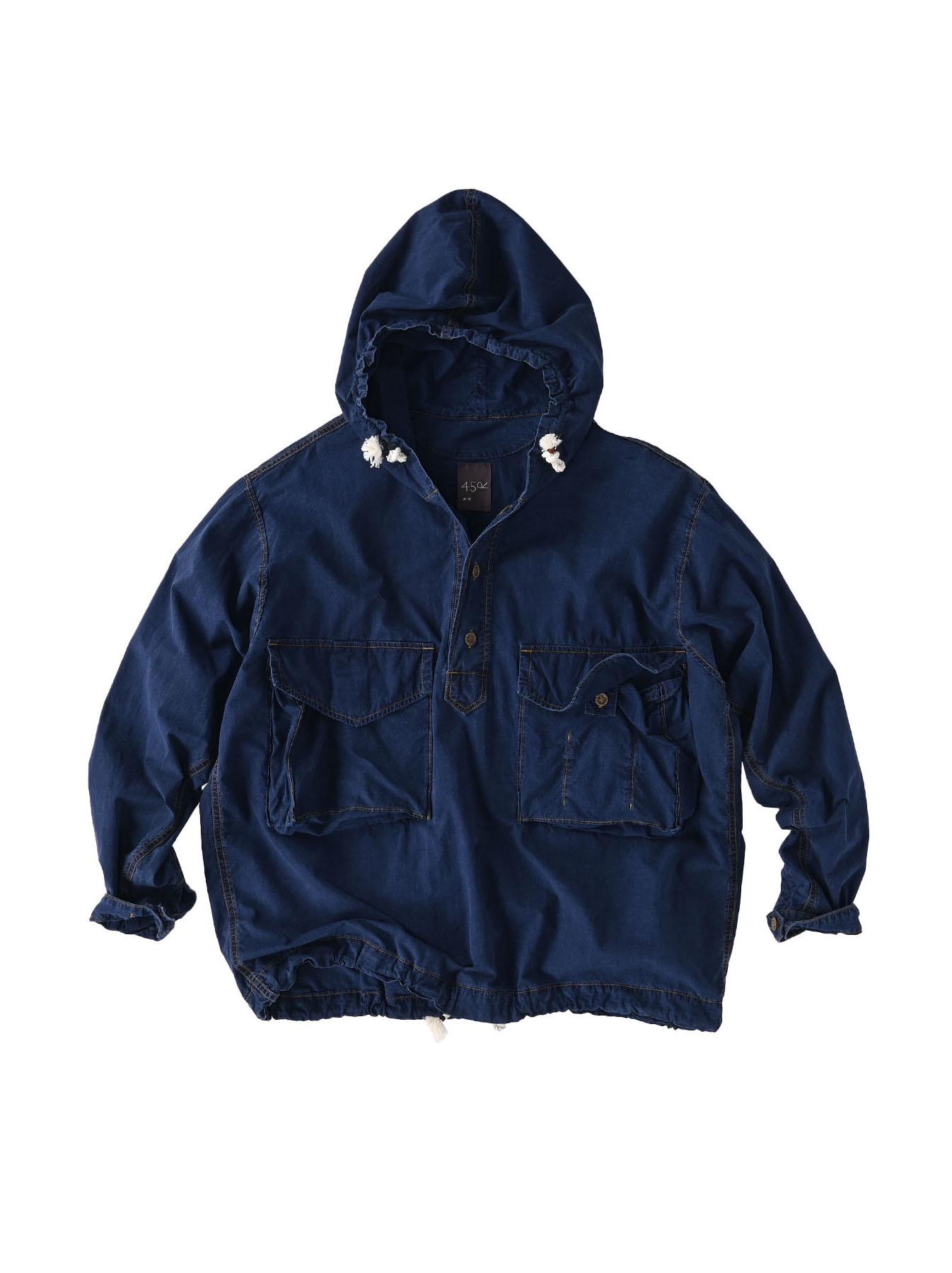 Indigo Tapet Damo Cotton On The Beach Hoodie Shirt-1