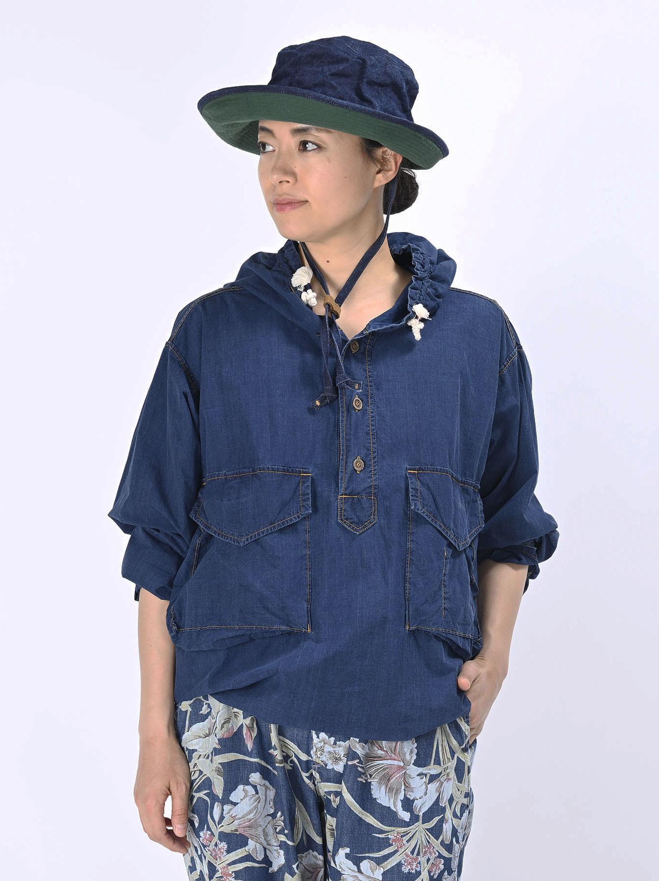 Indigo Tapet Damo Cotton On The Beach Hoodie Shirt-4