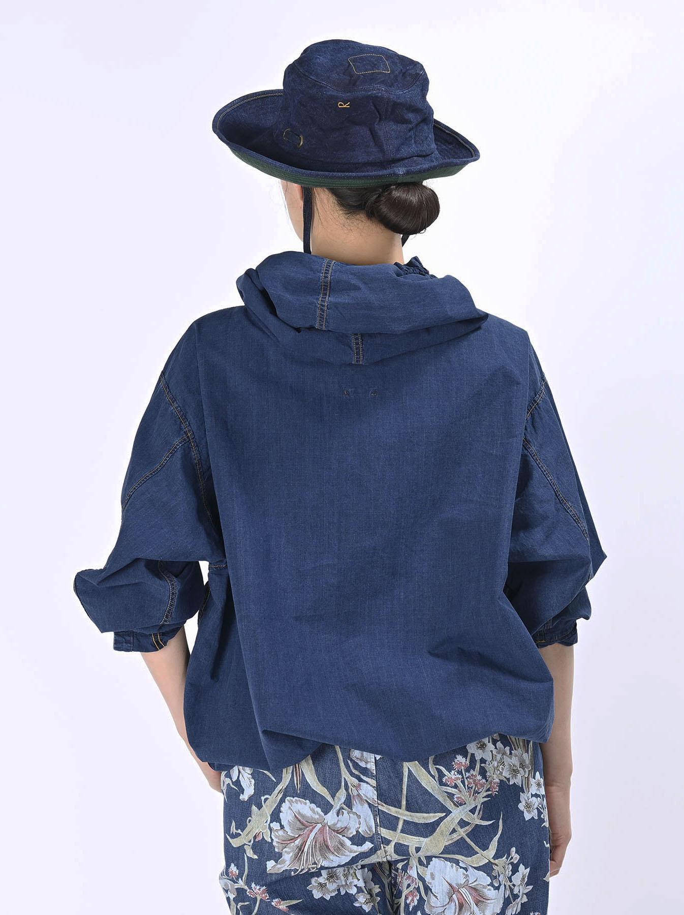 Indigo Tapet Damo Cotton On The Beach Hoodie Shirt-6