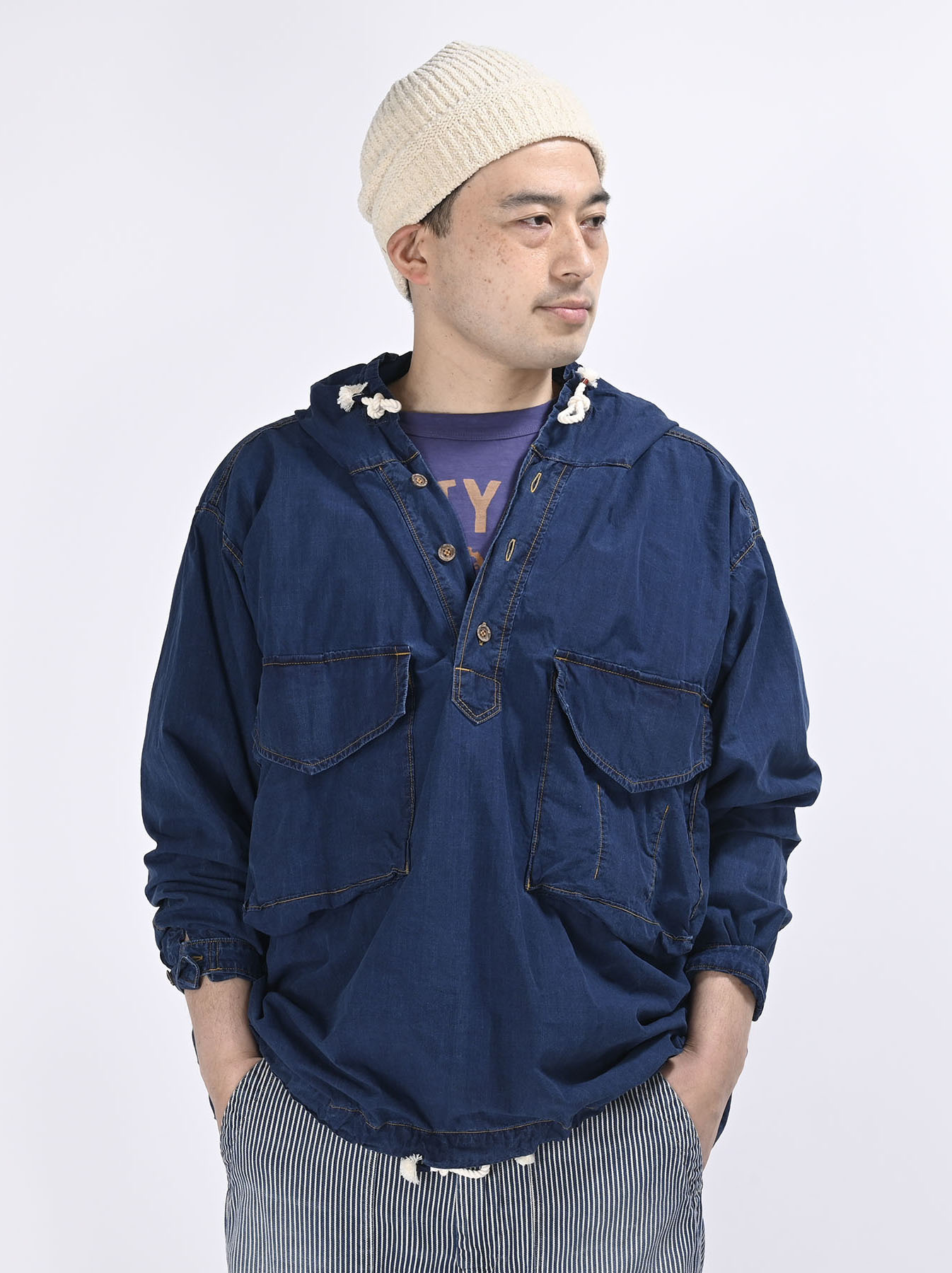 Indigo Tapet Damo Cotton On The Beach Hoodie Shirt-7
