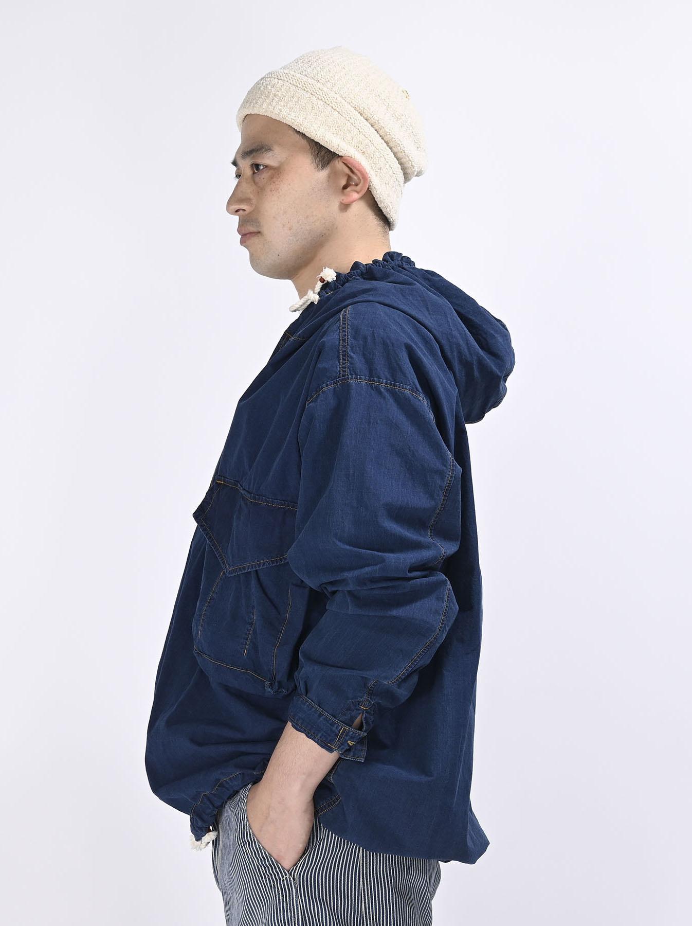 Indigo Tapet Damo Cotton On The Beach Hoodie Shirt-8