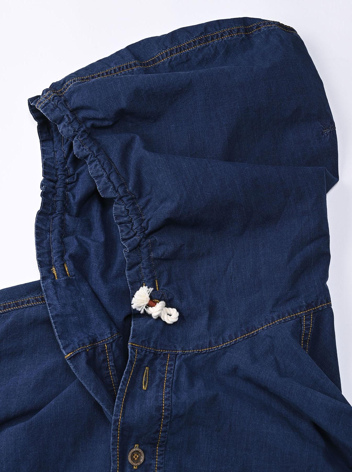 Indigo Tapet Damo Cotton On The Beach Hoodie Shirt-11