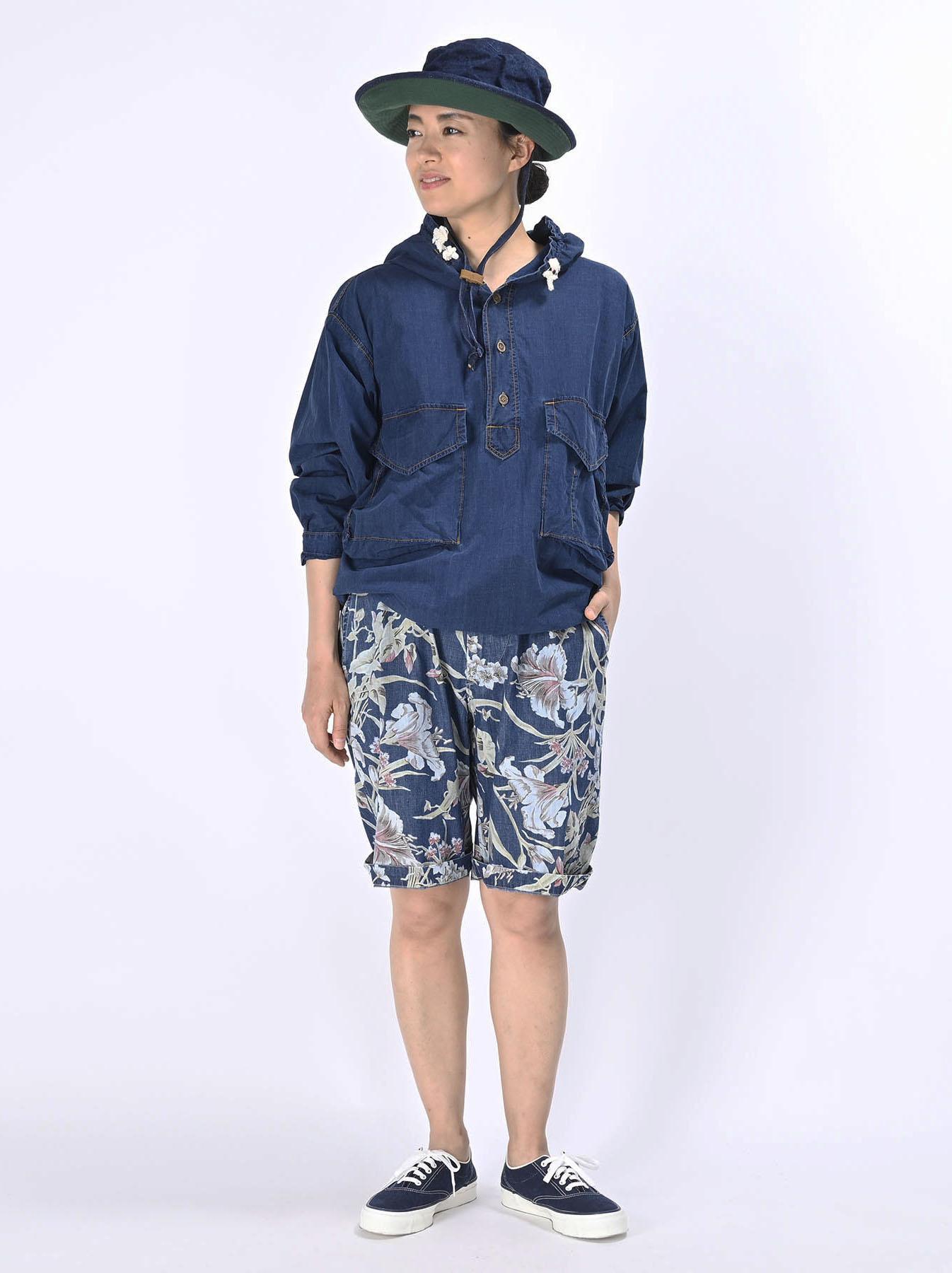 Indigo Tapet Damo Cotton On The Beach Hoodie Shirt-2