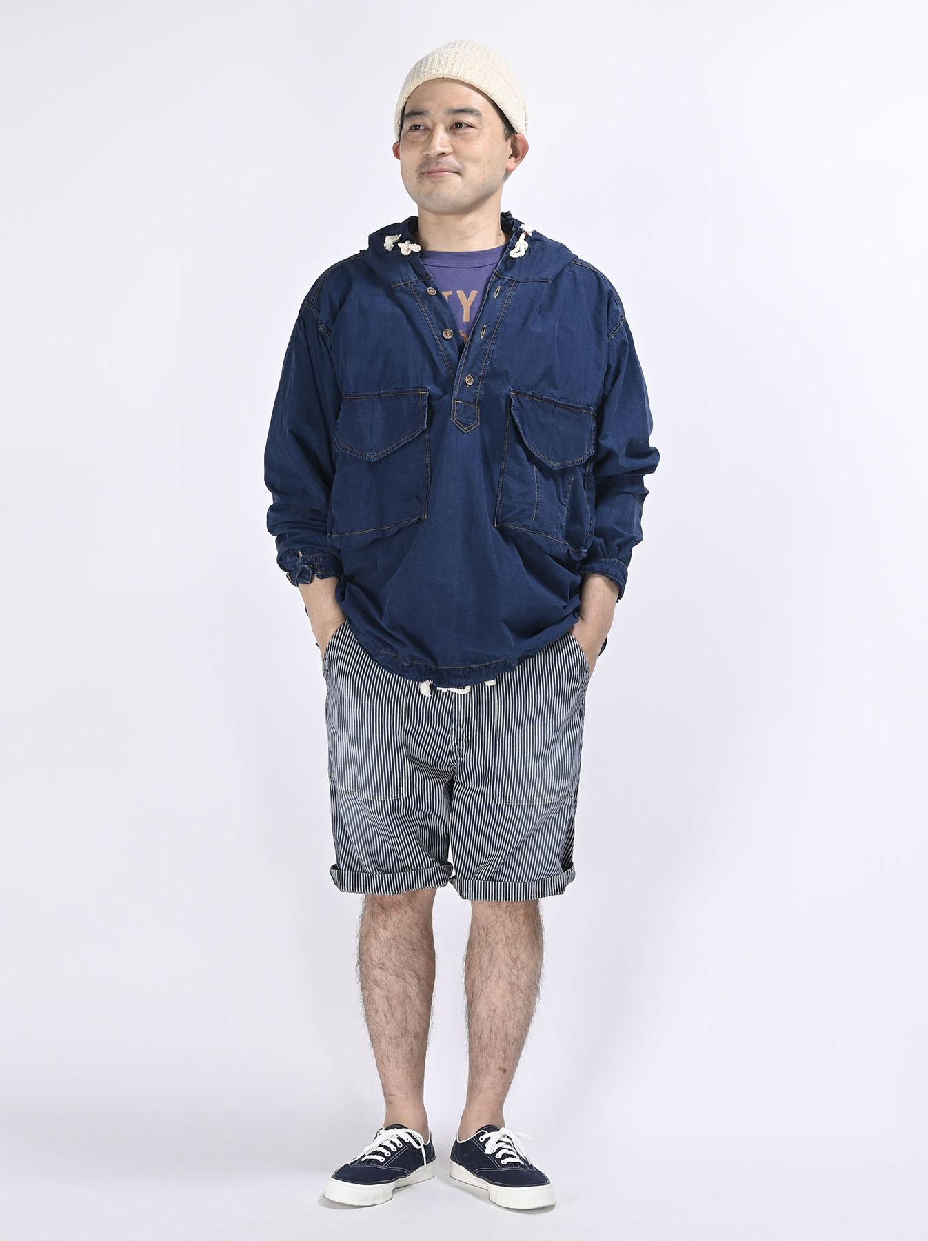 Indigo Tapet Damo Cotton On The Beach Hoodie Shirt-3