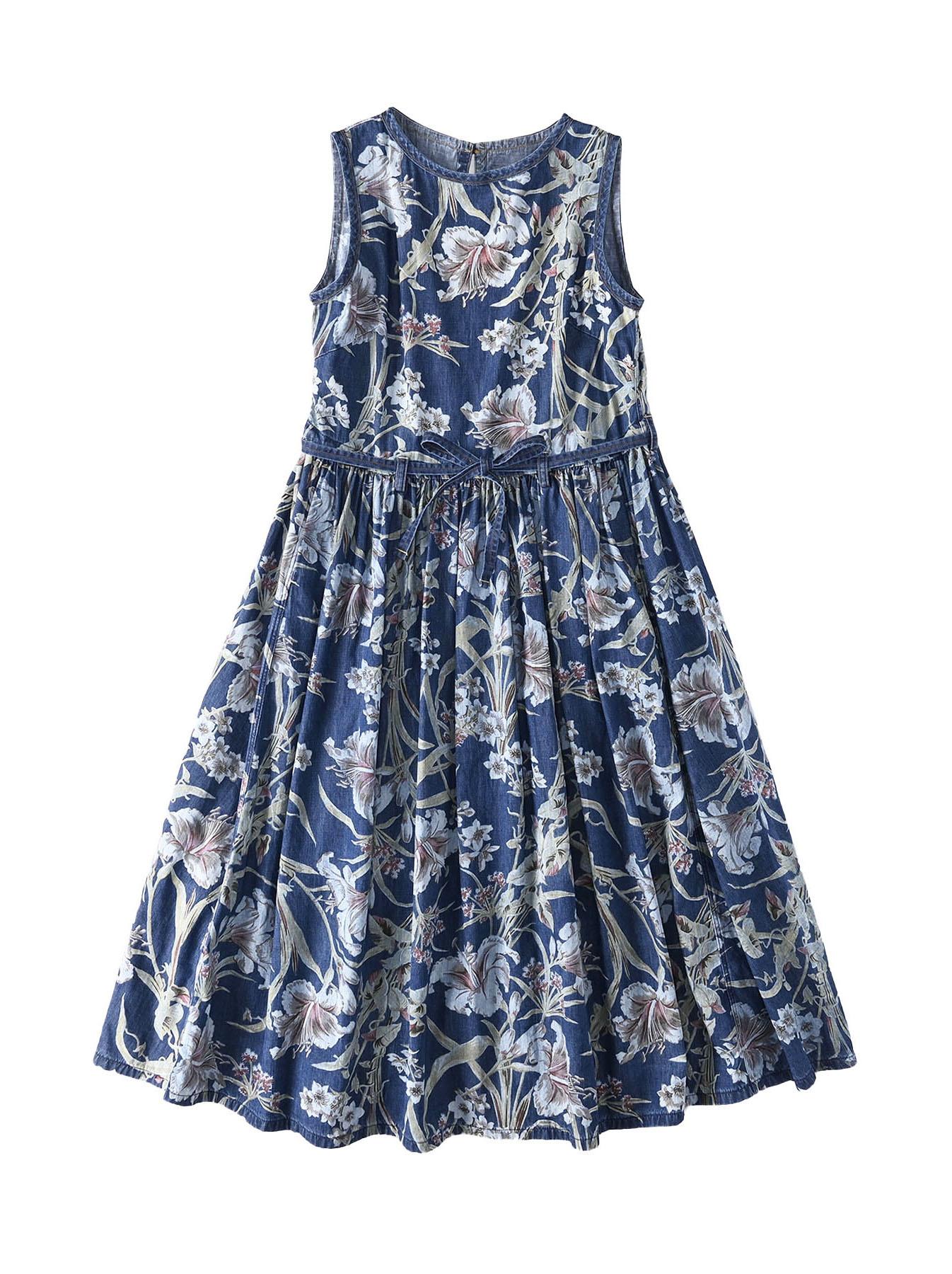 Cotton Lily Print Dress (0521)-1