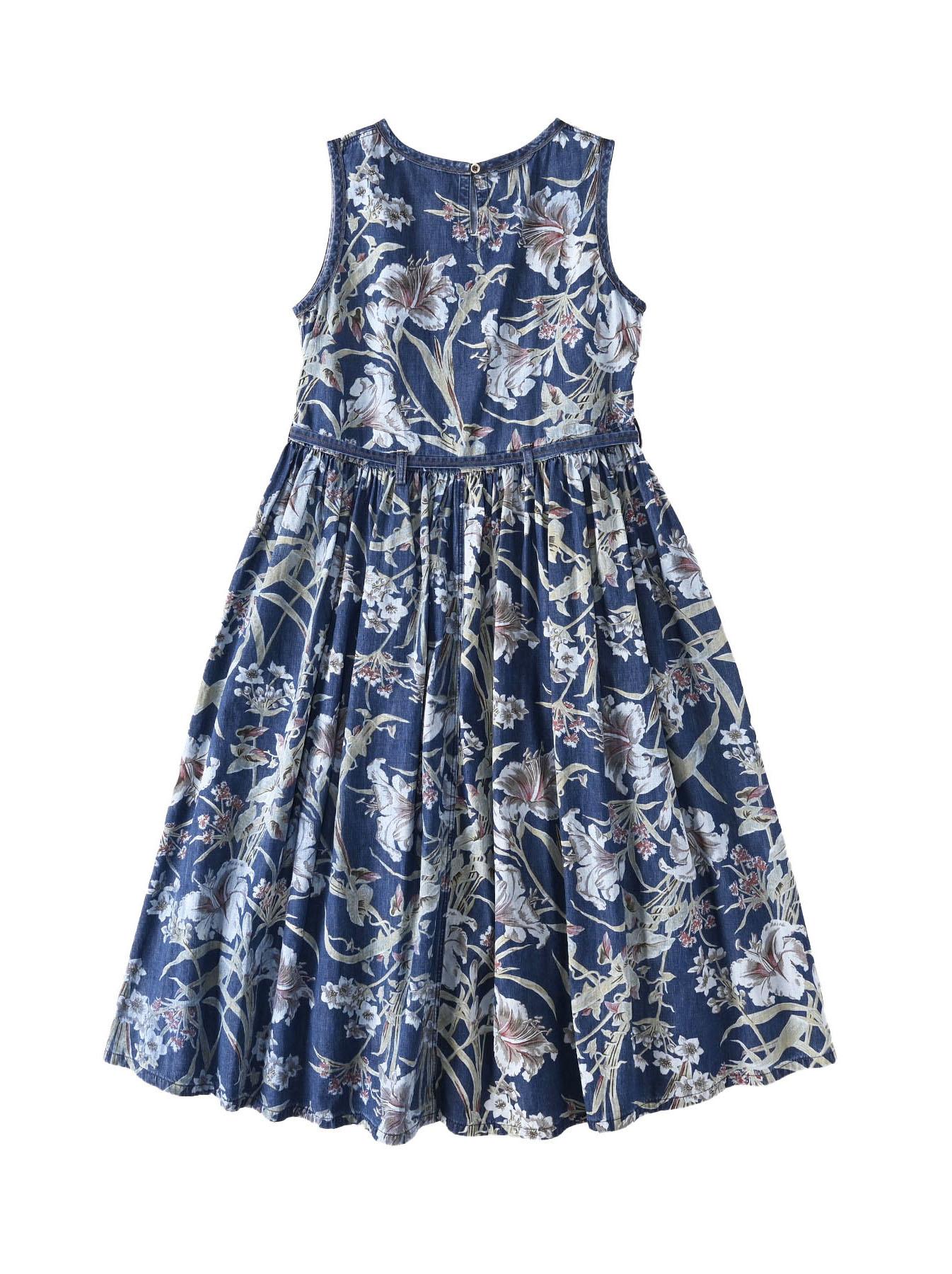 Cotton Lily Print Dress (0521)-6