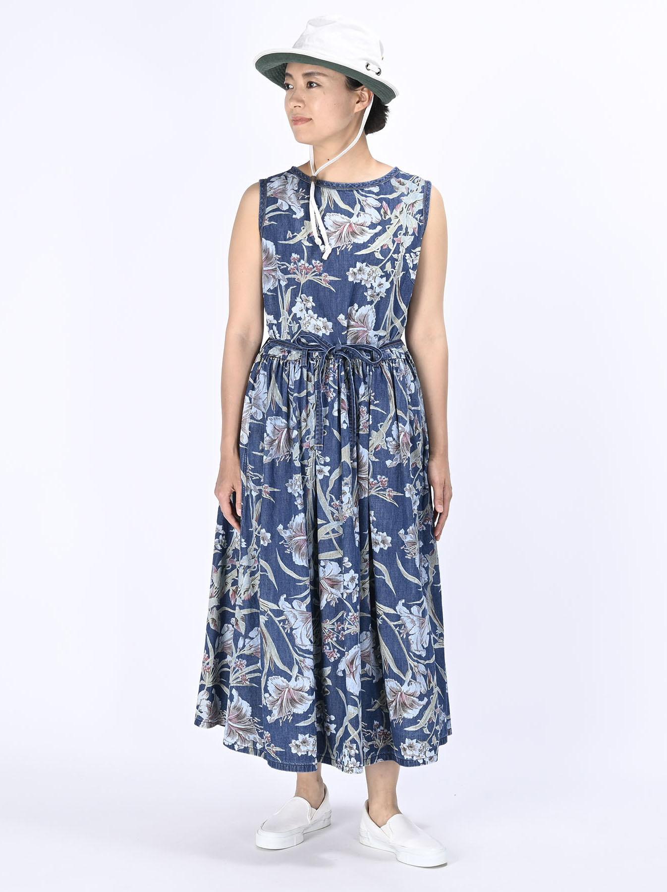 Cotton Lily Print Dress (0521)-2