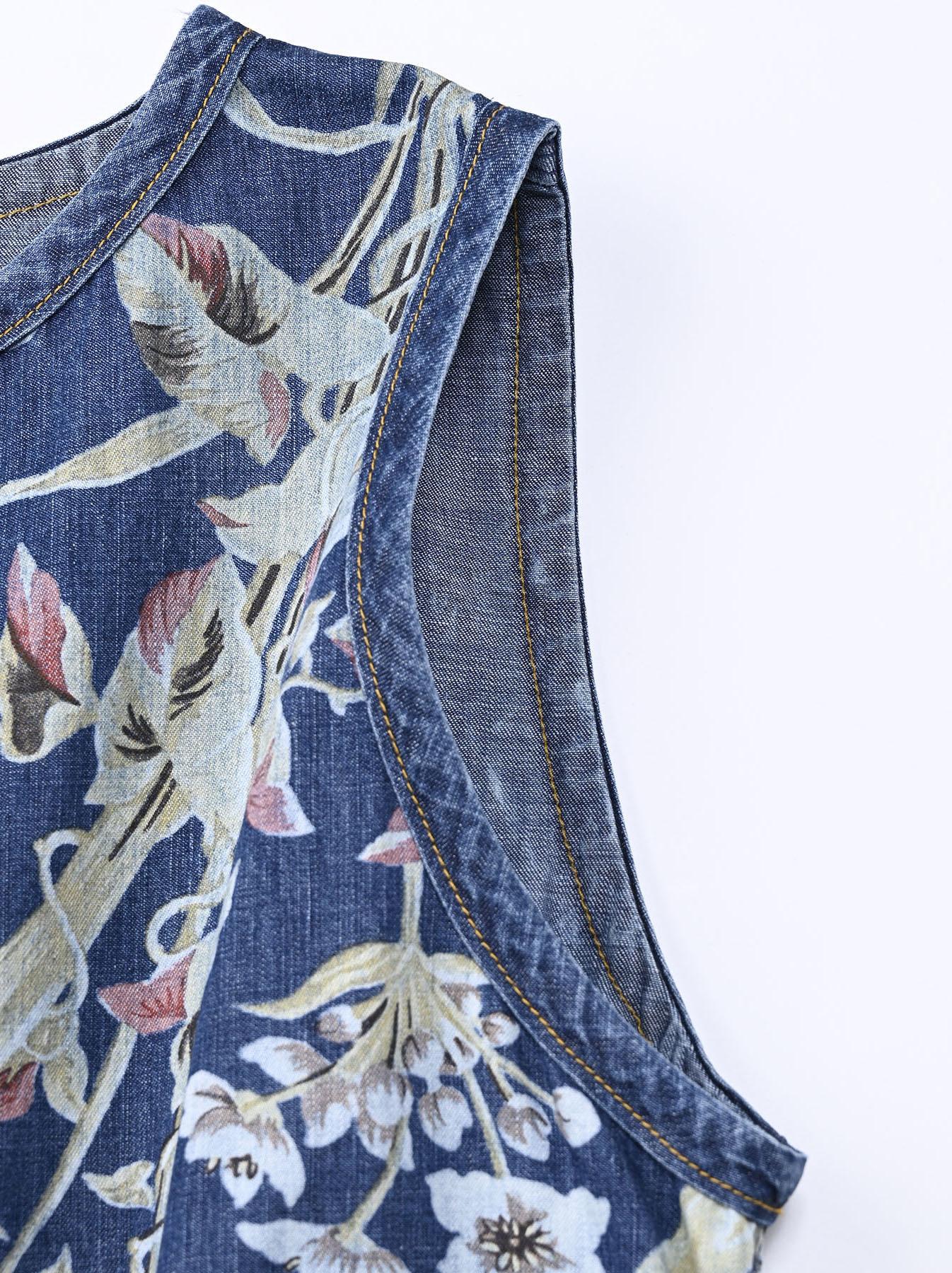 Cotton Lily Print Dress (0521)-7