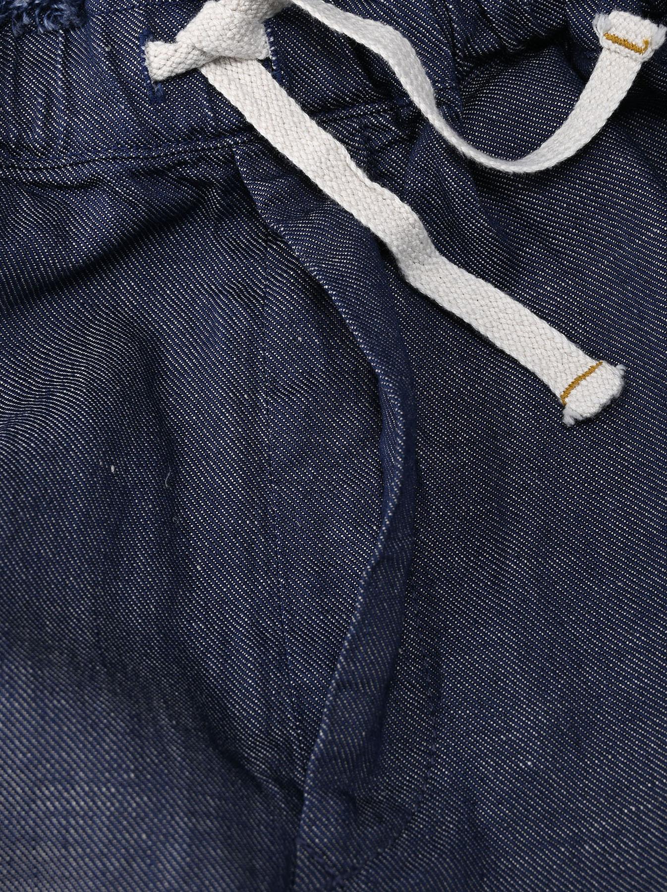 Indigo Cotton Linen Zakkuri Denim Easy Pants (0521)-7