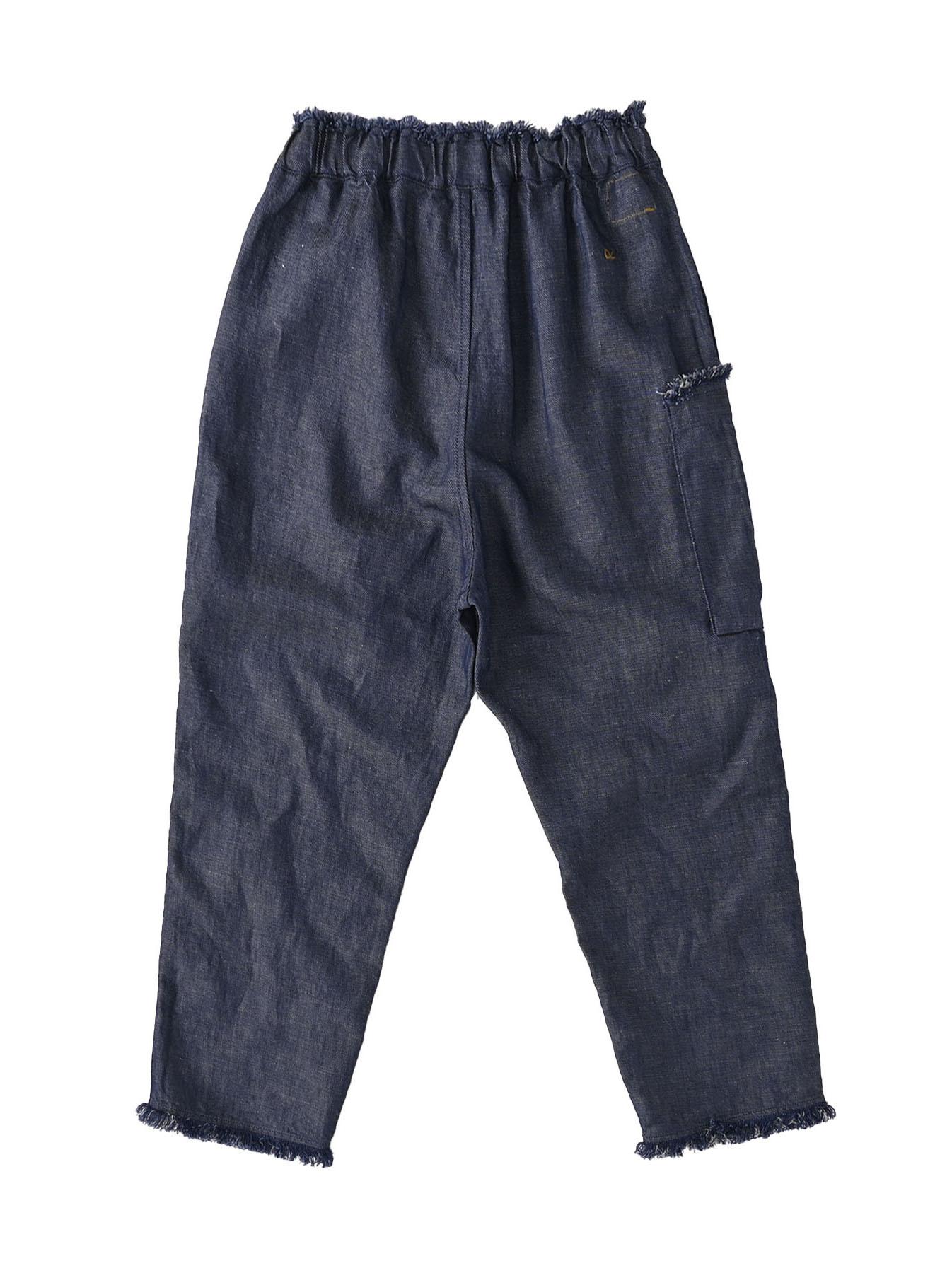 Indigo Cotton Linen Zakkuri Denim Easy Pants (0521)-6